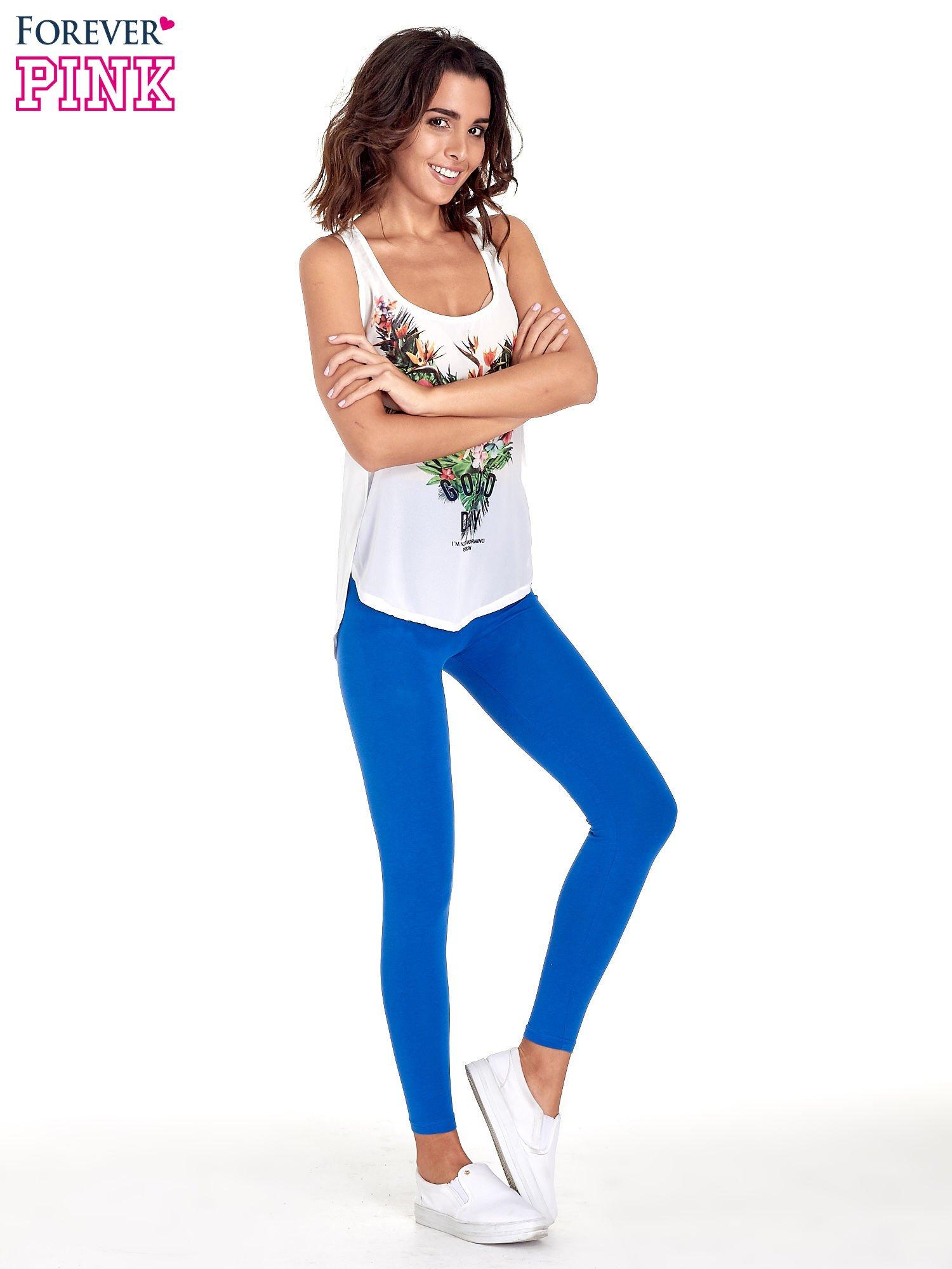 Niebieskie gładkie legginsy damskie basic                                  zdj.                                  8