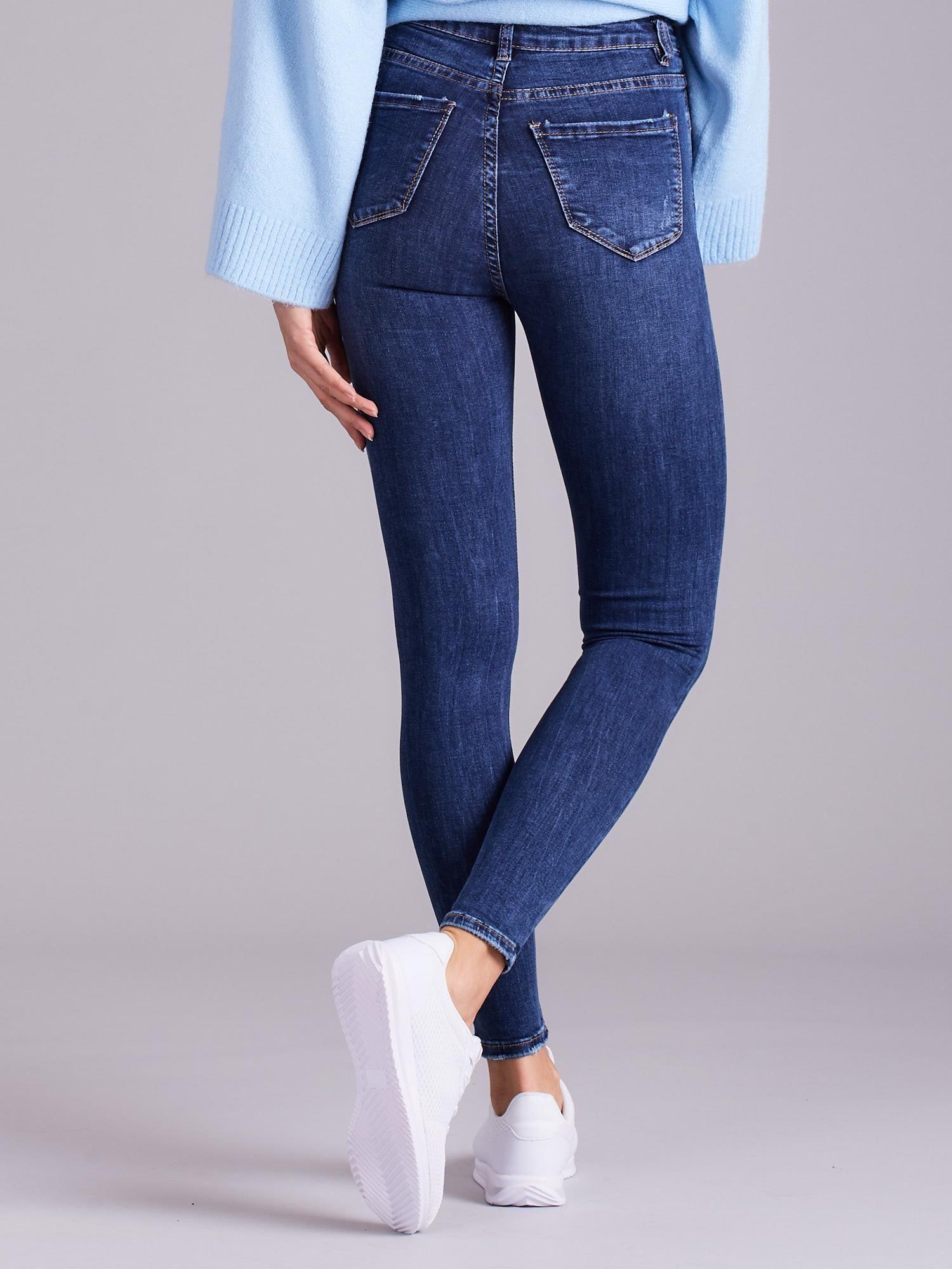 1e3856f36650a7 Niebieskie jeansy damskie z wysokim stanem - Spodnie jeansowe ...