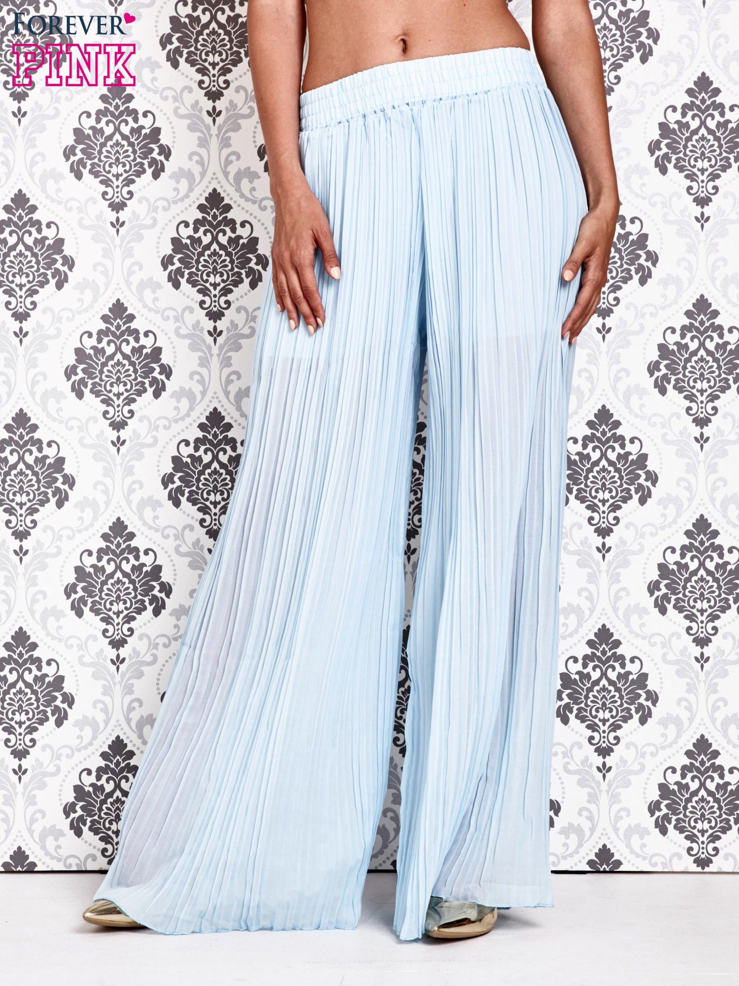 Niebieskie plisowane spodnie palazzo                                   zdj.                                  1
