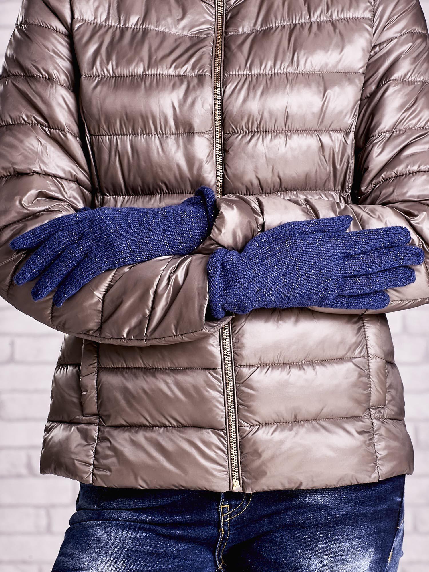 Niebieskie rękawiczki ze srebrną nicią z wywijanym mankietem                                  zdj.                                  2