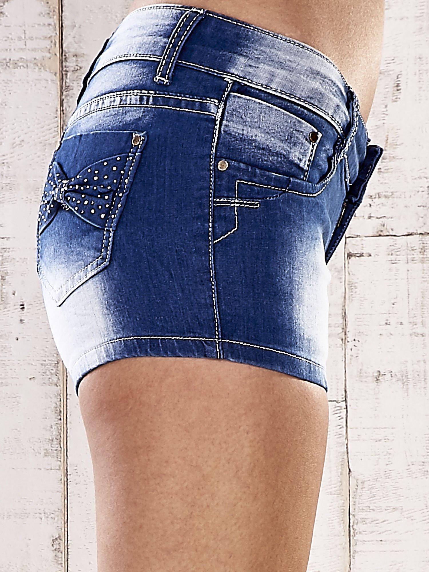 Niebieskie szorty jeansowe z kokardami na kieszeniach                                  zdj.                                  6