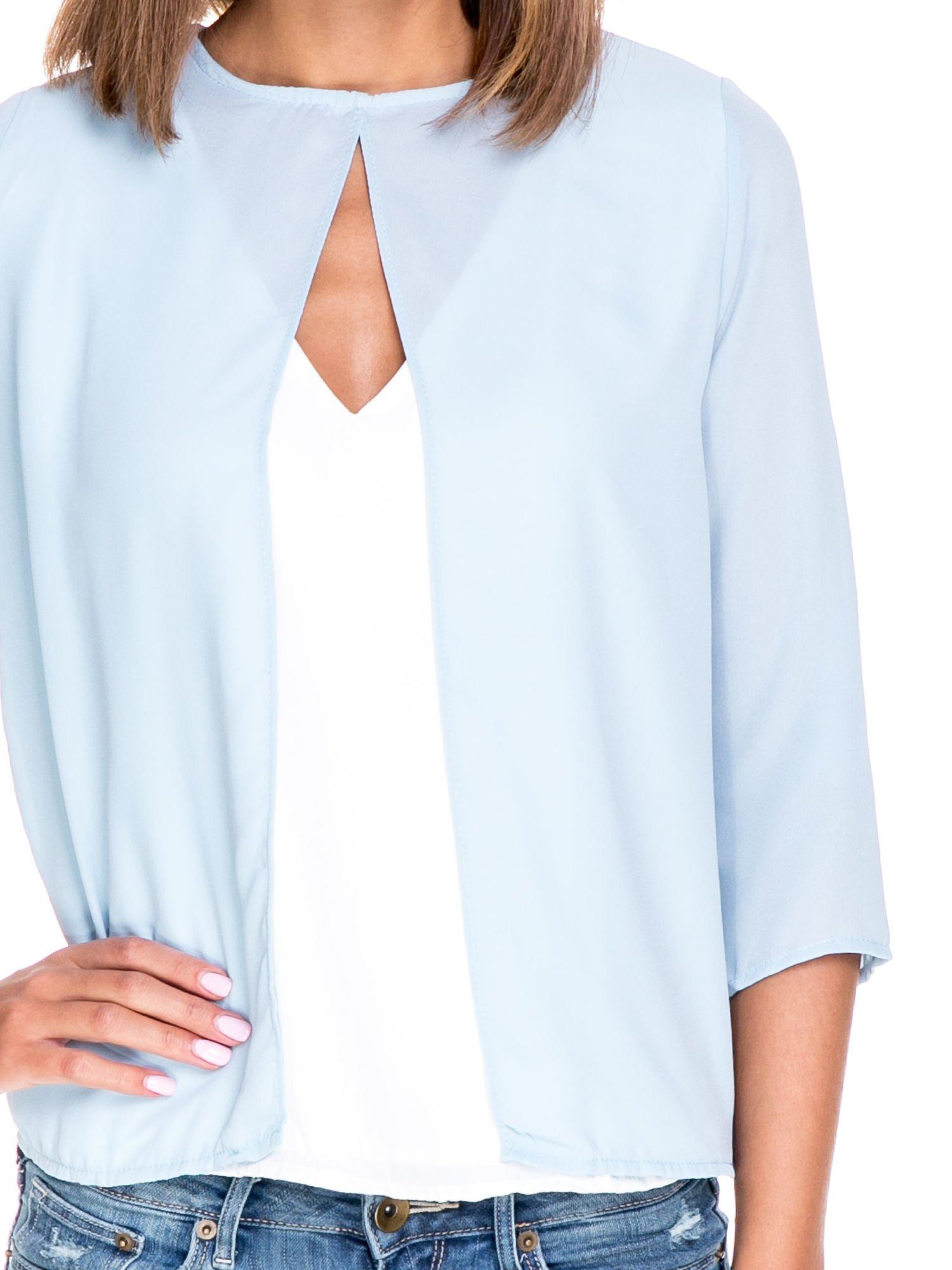 Niebiesko-biała dwuwarstwowa koszula o kroju narzutki                                  zdj.                                  6