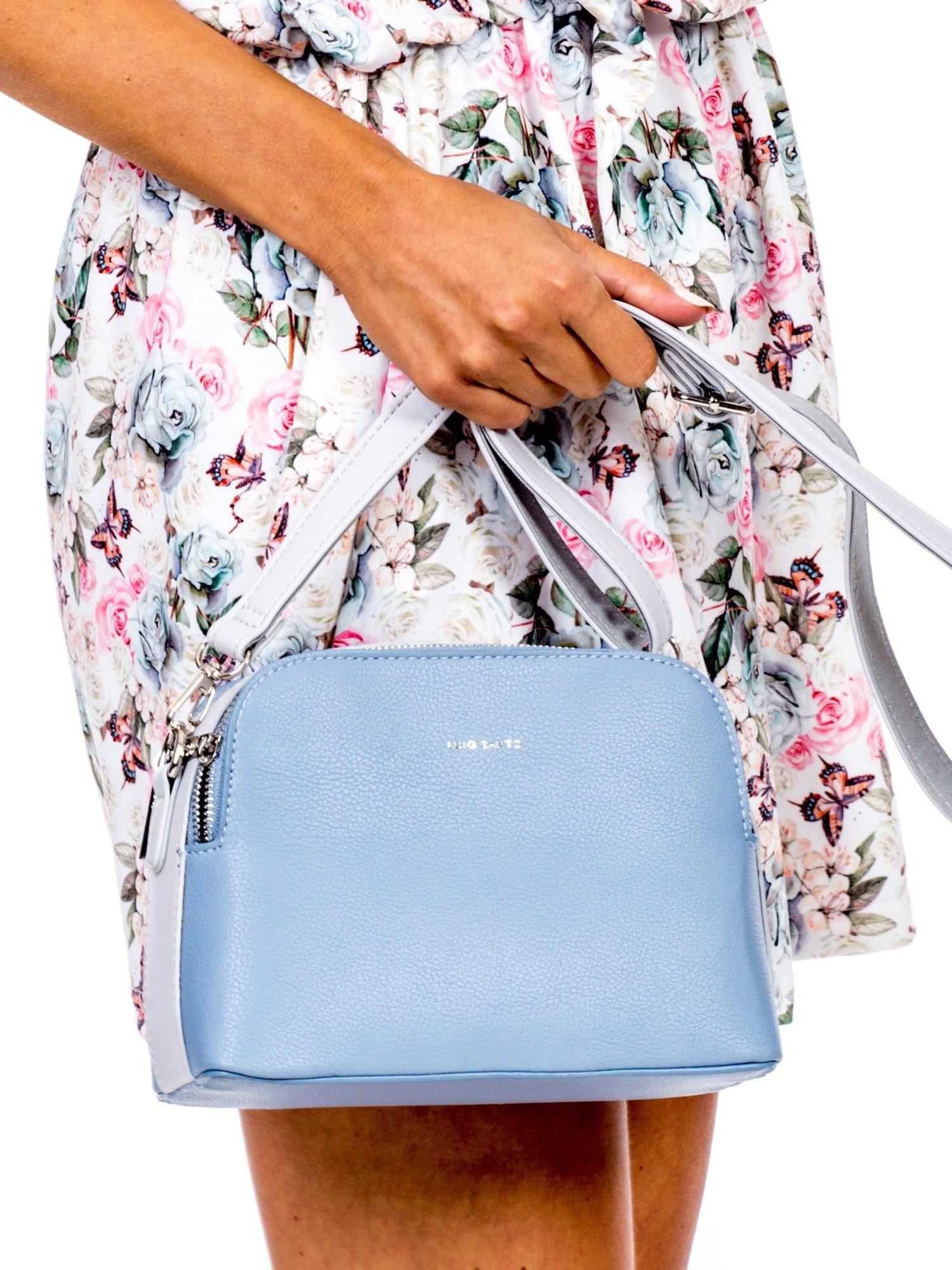 67aff38a80544 Niebiesko-jasnoszara torebka z szerokim paskiem - Akcesoria torba ...