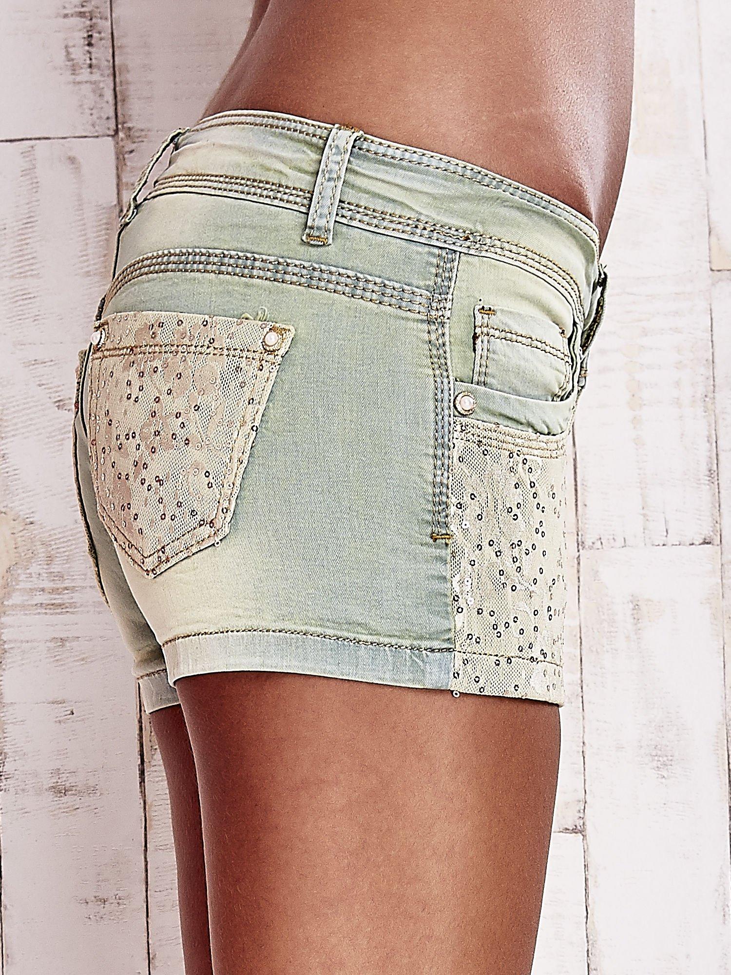 Niebieskozielone szorty jeansowe z koronką                                  zdj.                                  6