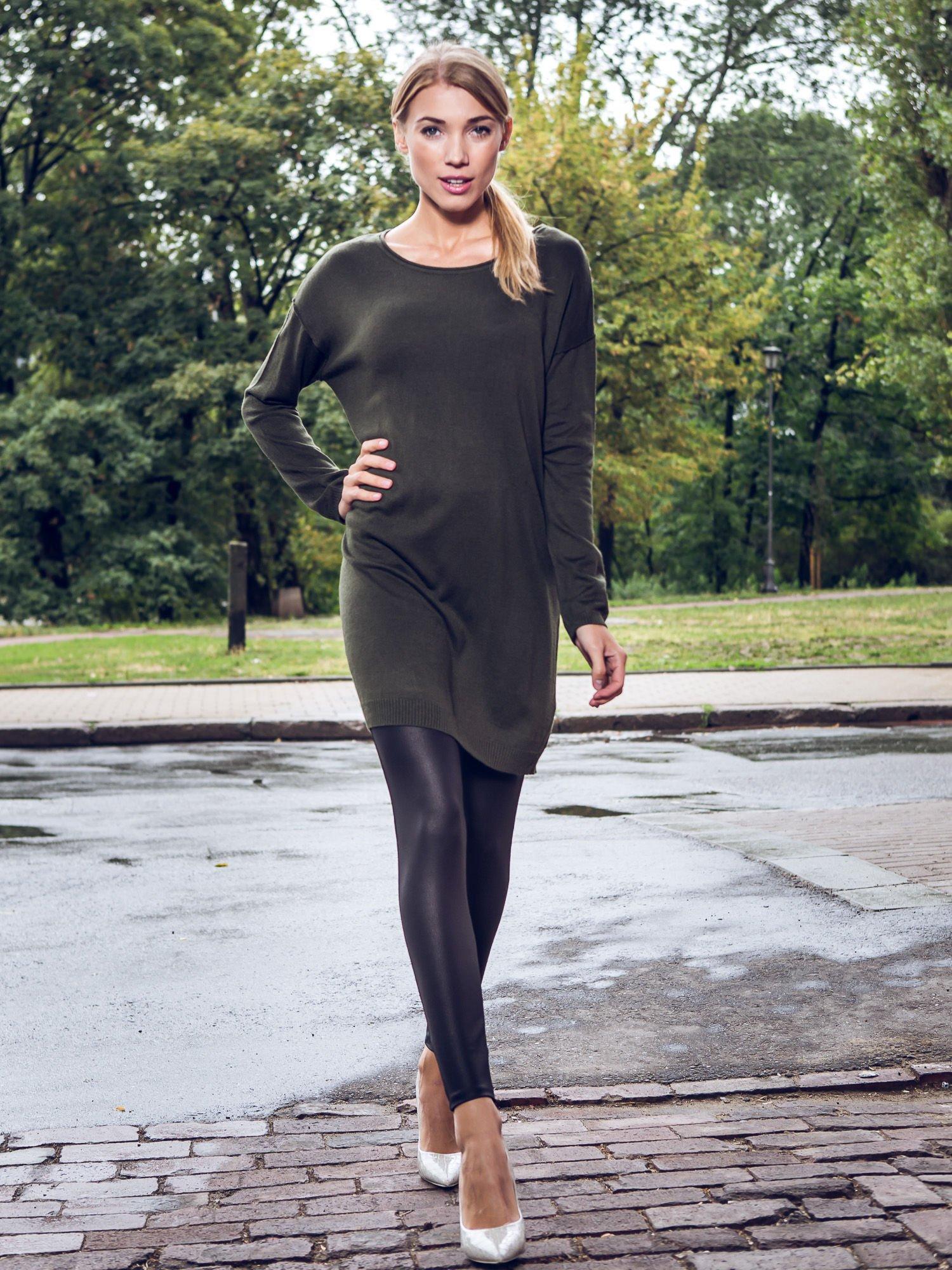 Oliwkowa prosta dzianinowa sukienka                                  zdj.                                  10