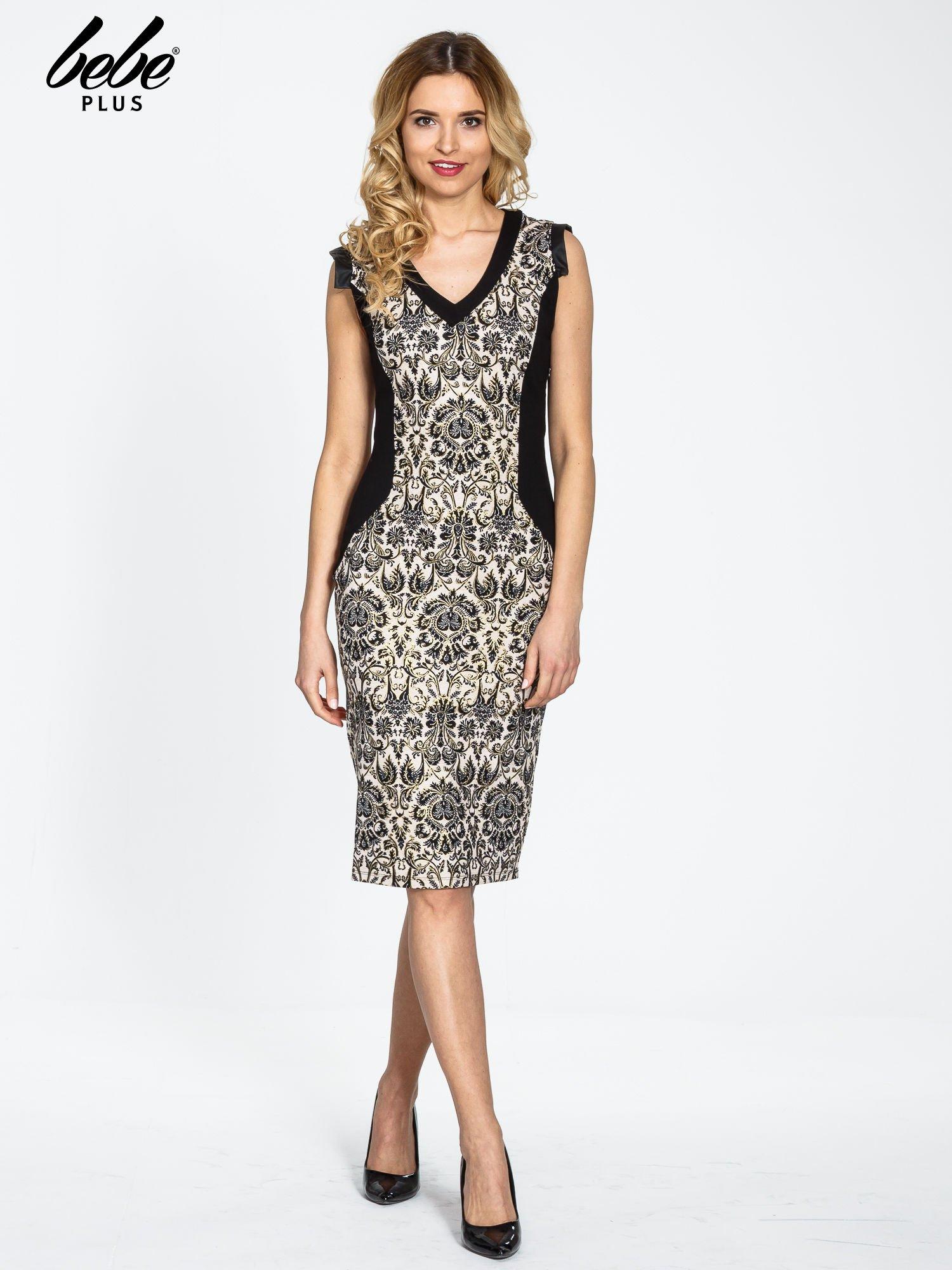 Ornamentowa sukienka z czarnymi modułami                                  zdj.                                  2