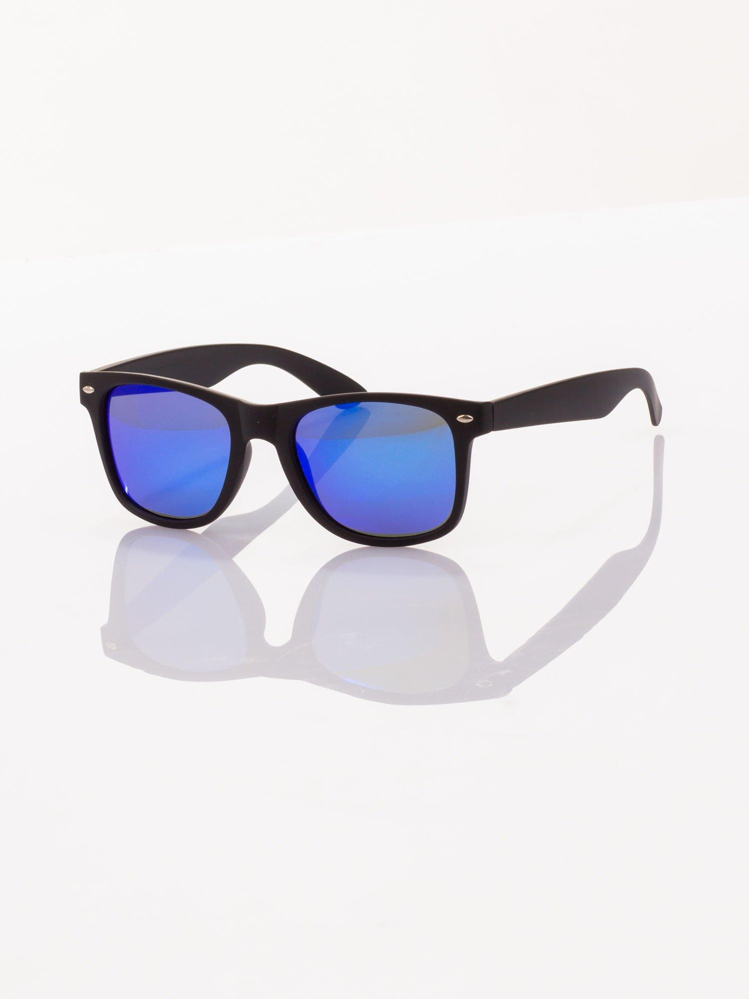 POLARYZACJA Czarne okulary przeciwsłoneczne typu WAYFARER NERD MAT LUSTRZANKA                                  zdj.                                  1