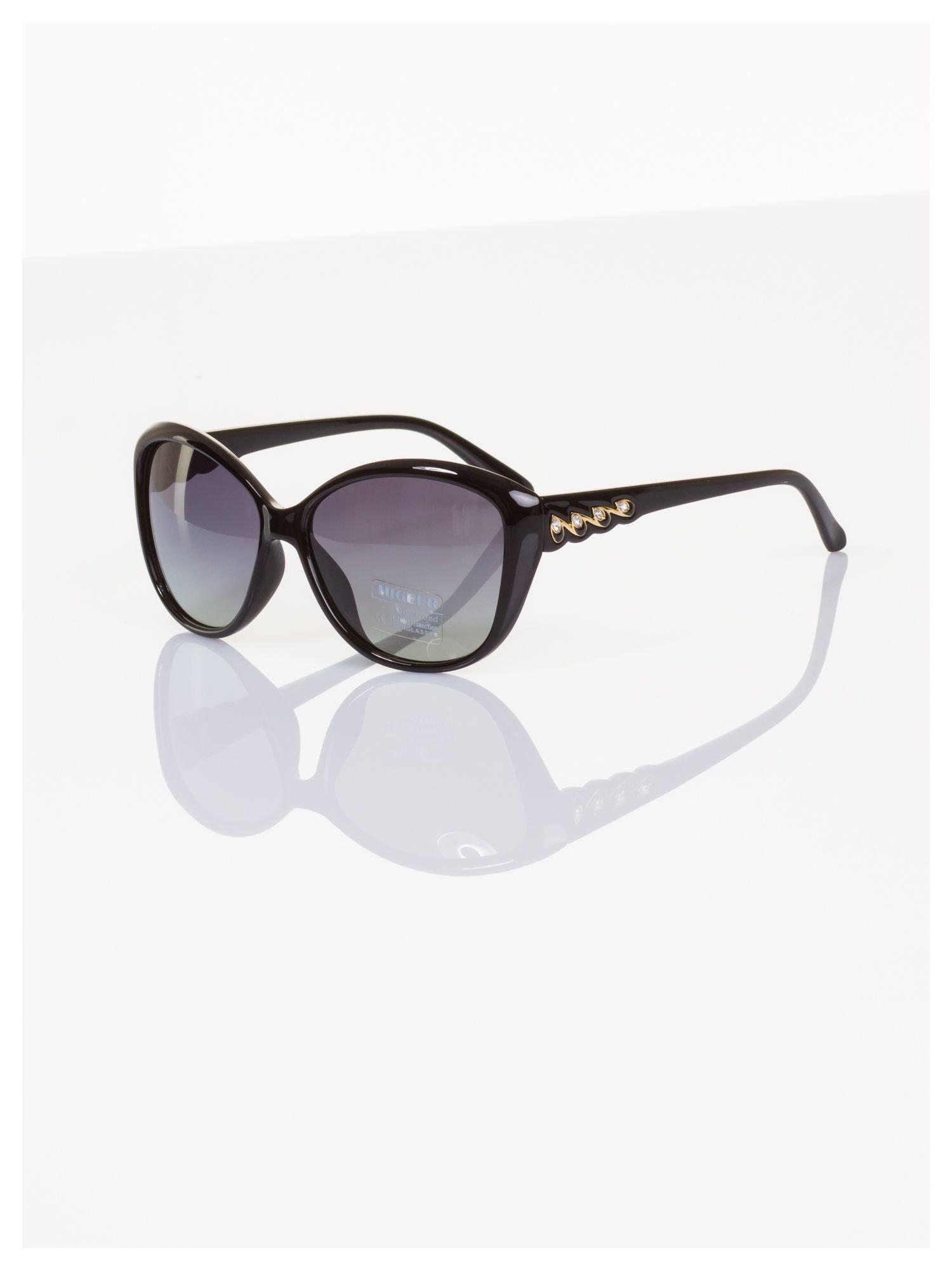 POLARYZACJA Przepiękne włoskie okulary KOCIE OKO z drobnymi złotymi zdobieniami +GRATISY                                  zdj.                                  1