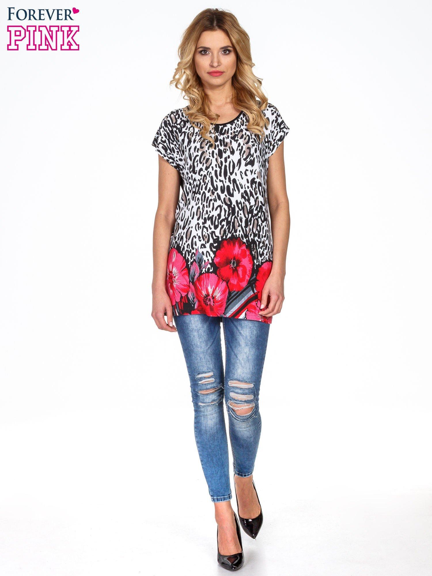 Panterkowy t-shirt z nadrukiem kwiatów                                  zdj.                                  6