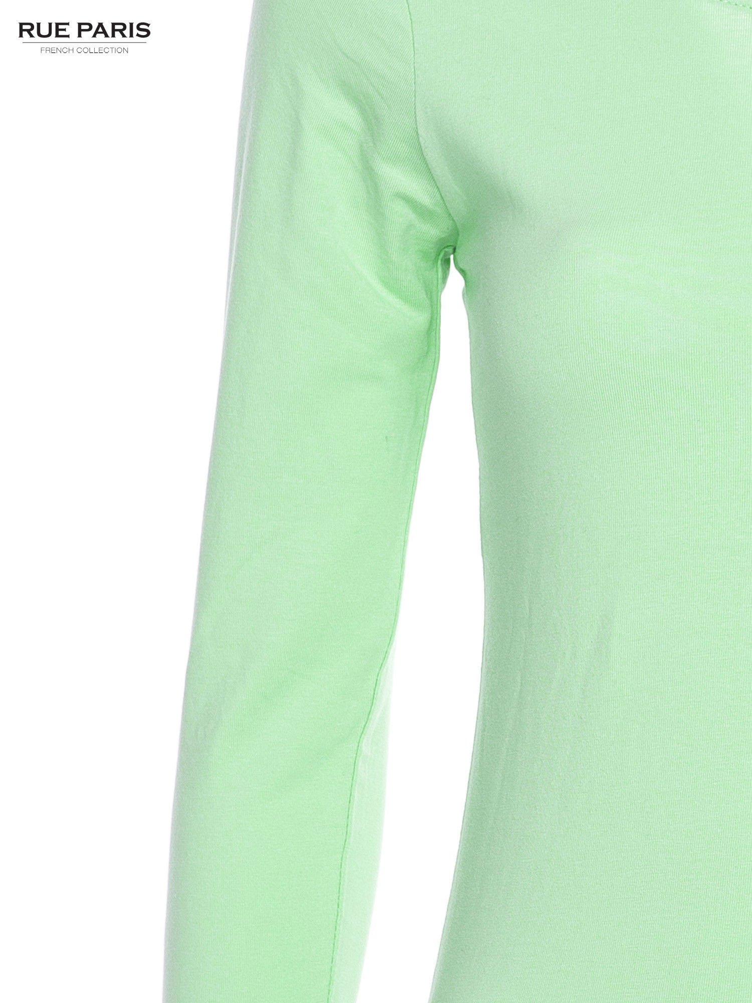 Pastelowozielona gładka bluzka z rękawem 3/4                                  zdj.                                  5