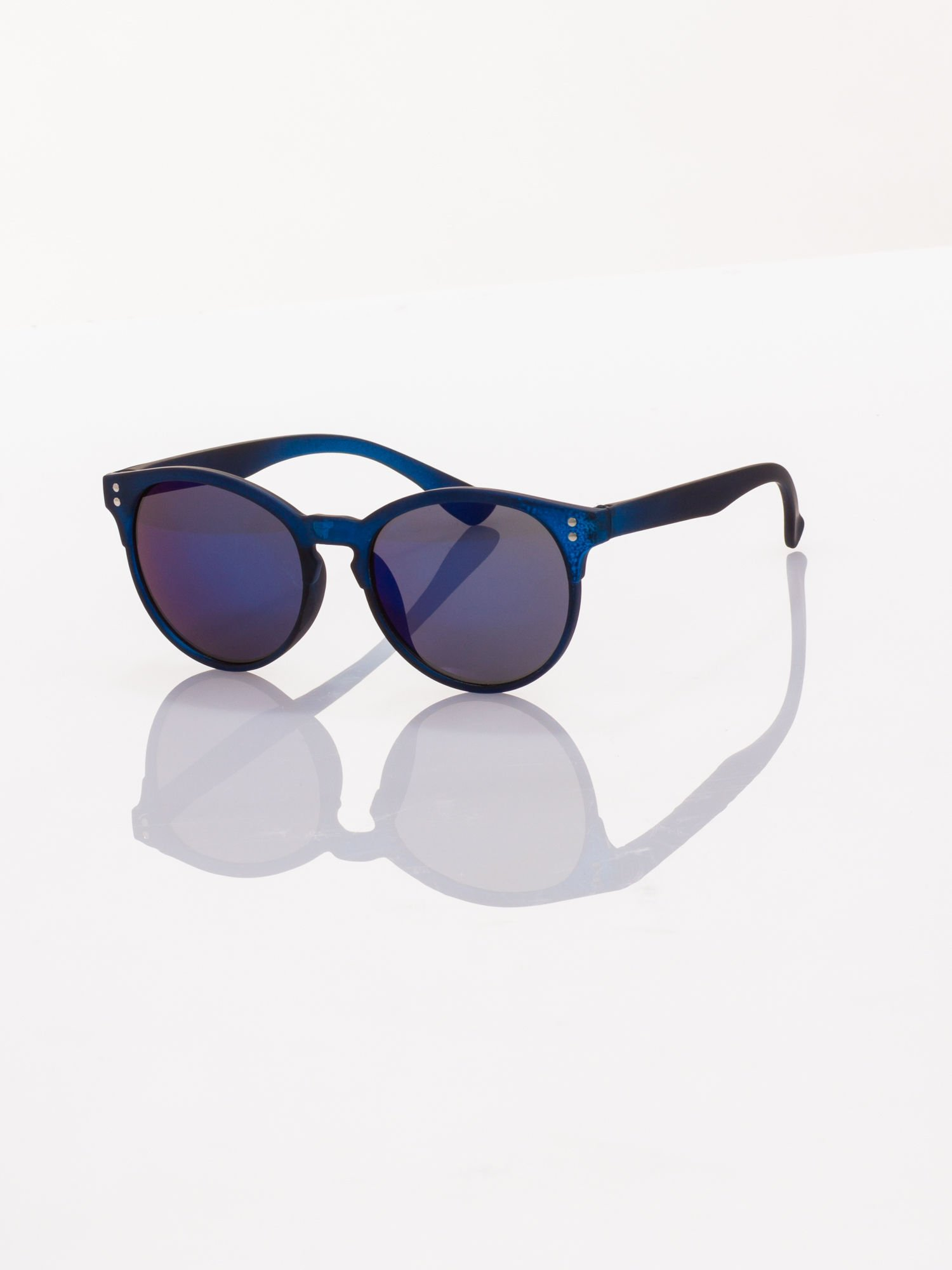 Piękne granatowe okulary przeciwsłoneczne w stylu vintage lustrzanki                                  zdj.                                  1