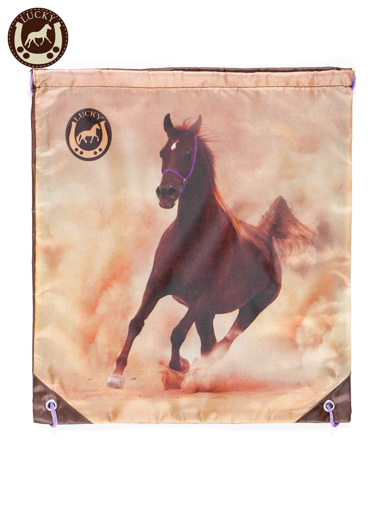 Plecak typu worek z nadrukiem konia