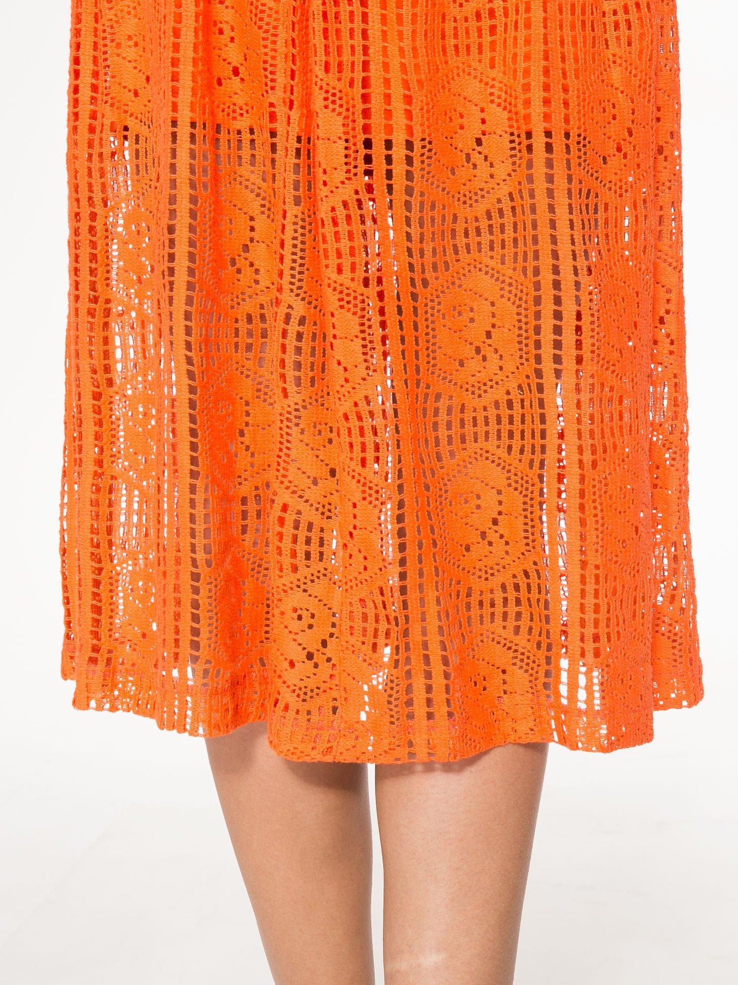 Pomarańczowa ażurowa spódnica midi                                  zdj.                                  7