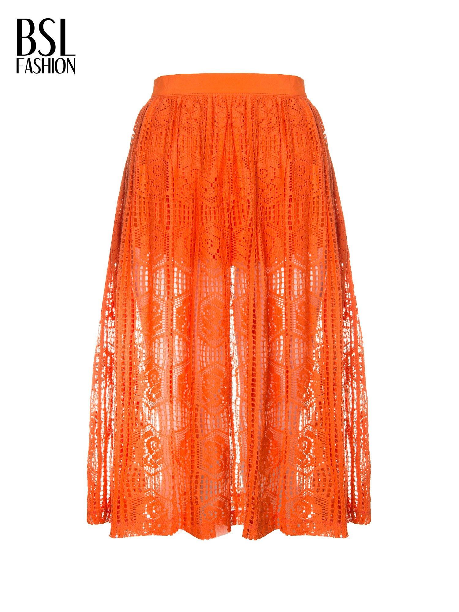 Pomarańczowa ażurowa spódnica midi                                  zdj.                                  2