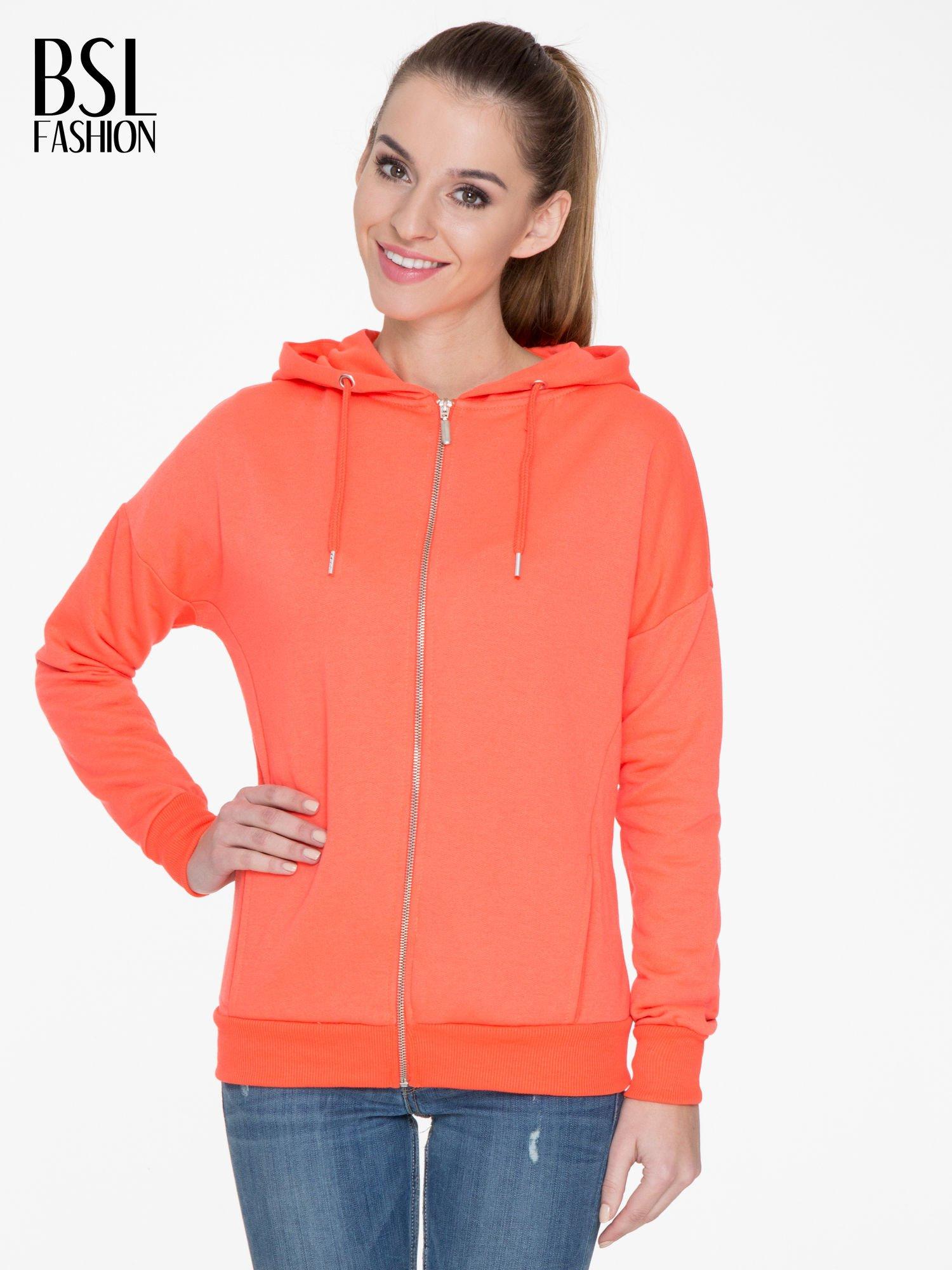 Pomarańczowa bluza damska z kapturem zasuwana na suwak                                  zdj.                                  1