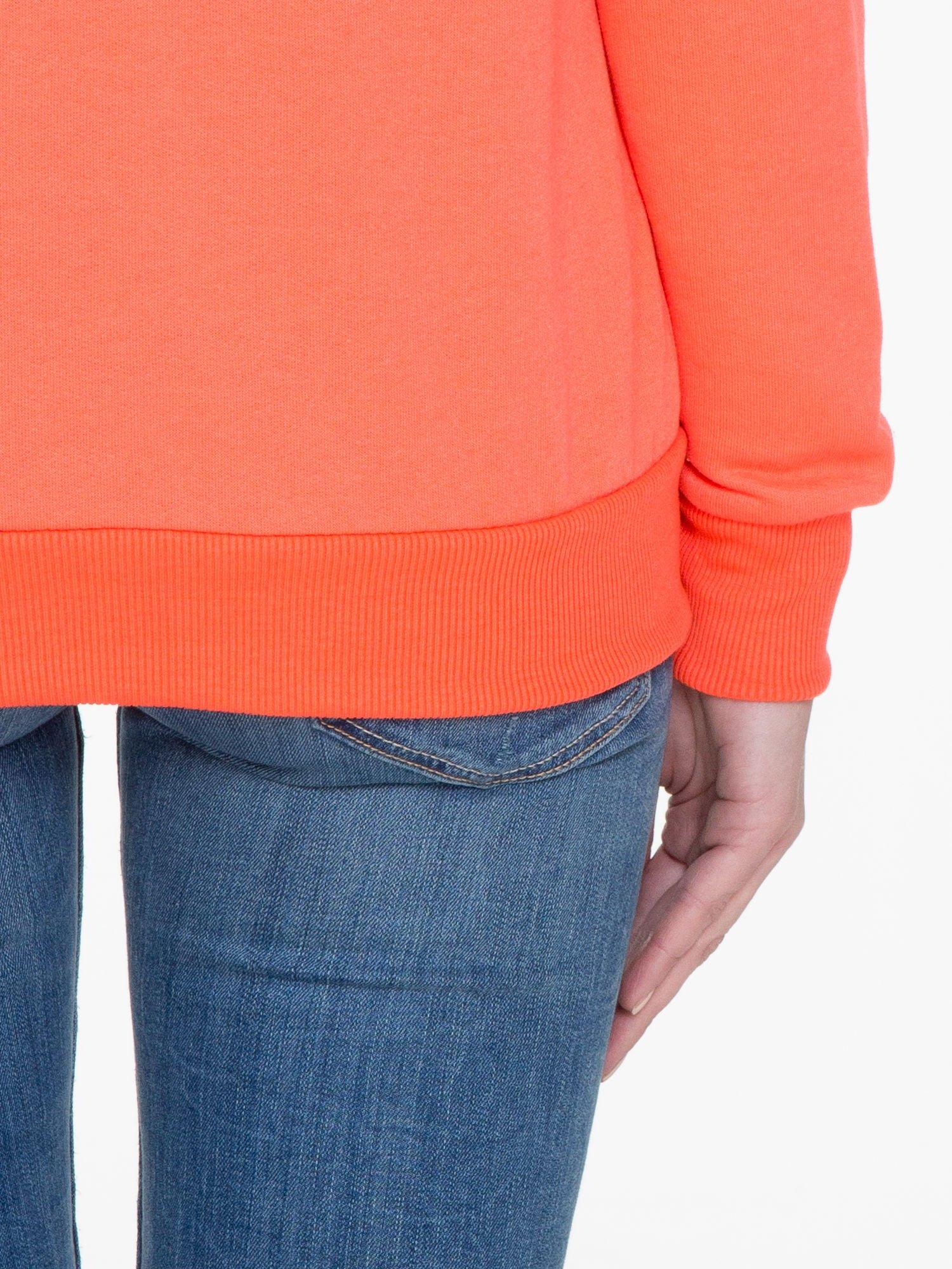 Pomarańczowa bluza damska z kapturem zasuwana na suwak                                  zdj.                                  9