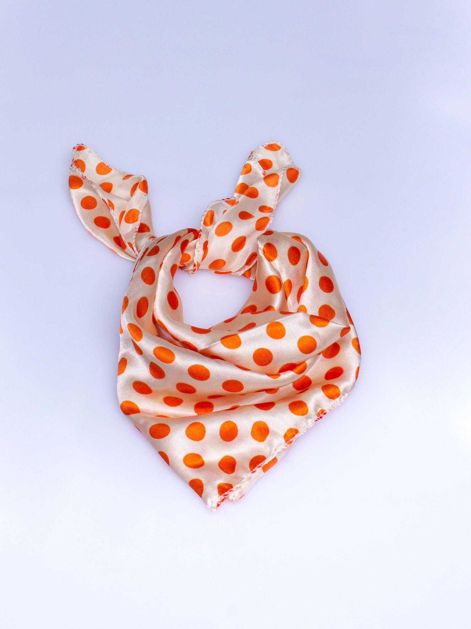 Pomarańczowa chusta apaszka w grochy                                  zdj.                                  1