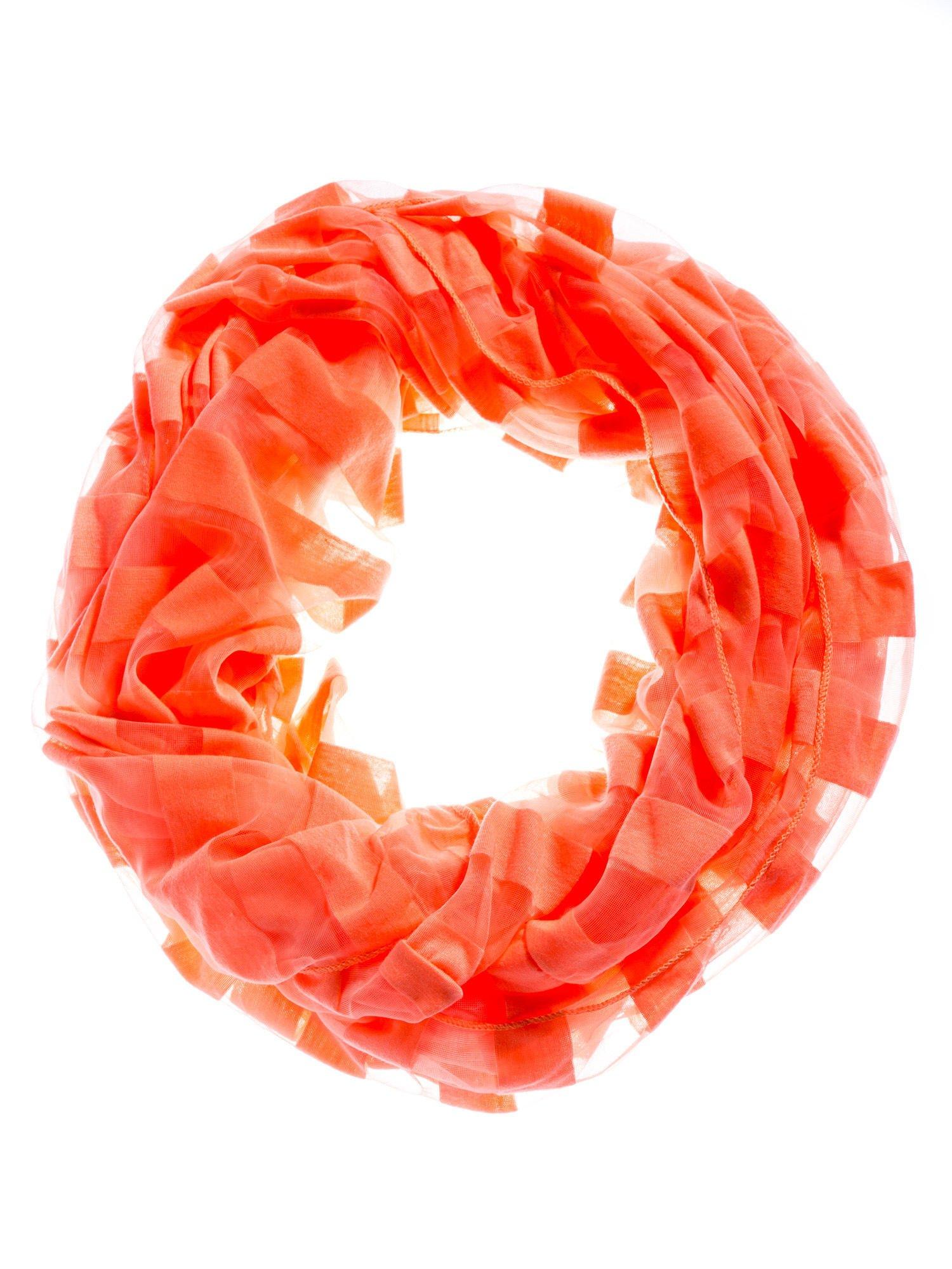 Pomarańczowa chusta komin w transparentne paski                                  zdj.                                  2