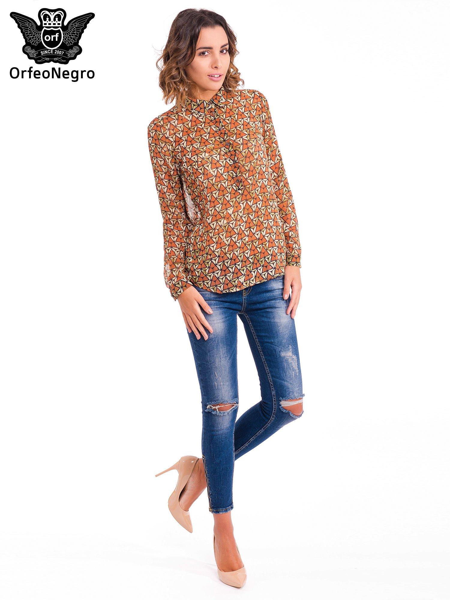 Pomarańczowa koszula mgiełka w geometryczne wzory                                  zdj.                                  2