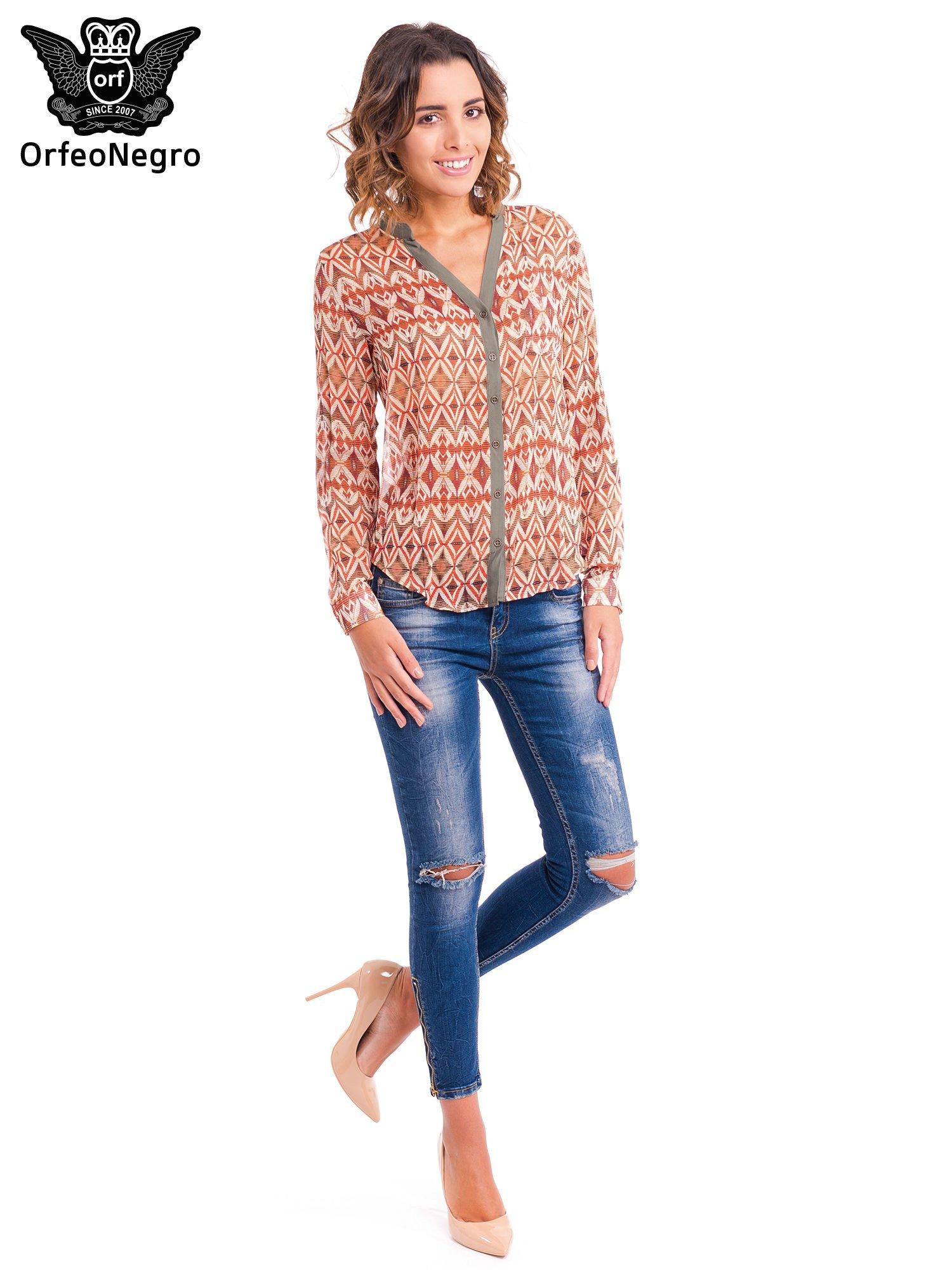 Pomarańczowa koszula w etniczne wzory z kontrastową listwą                                  zdj.                                  2