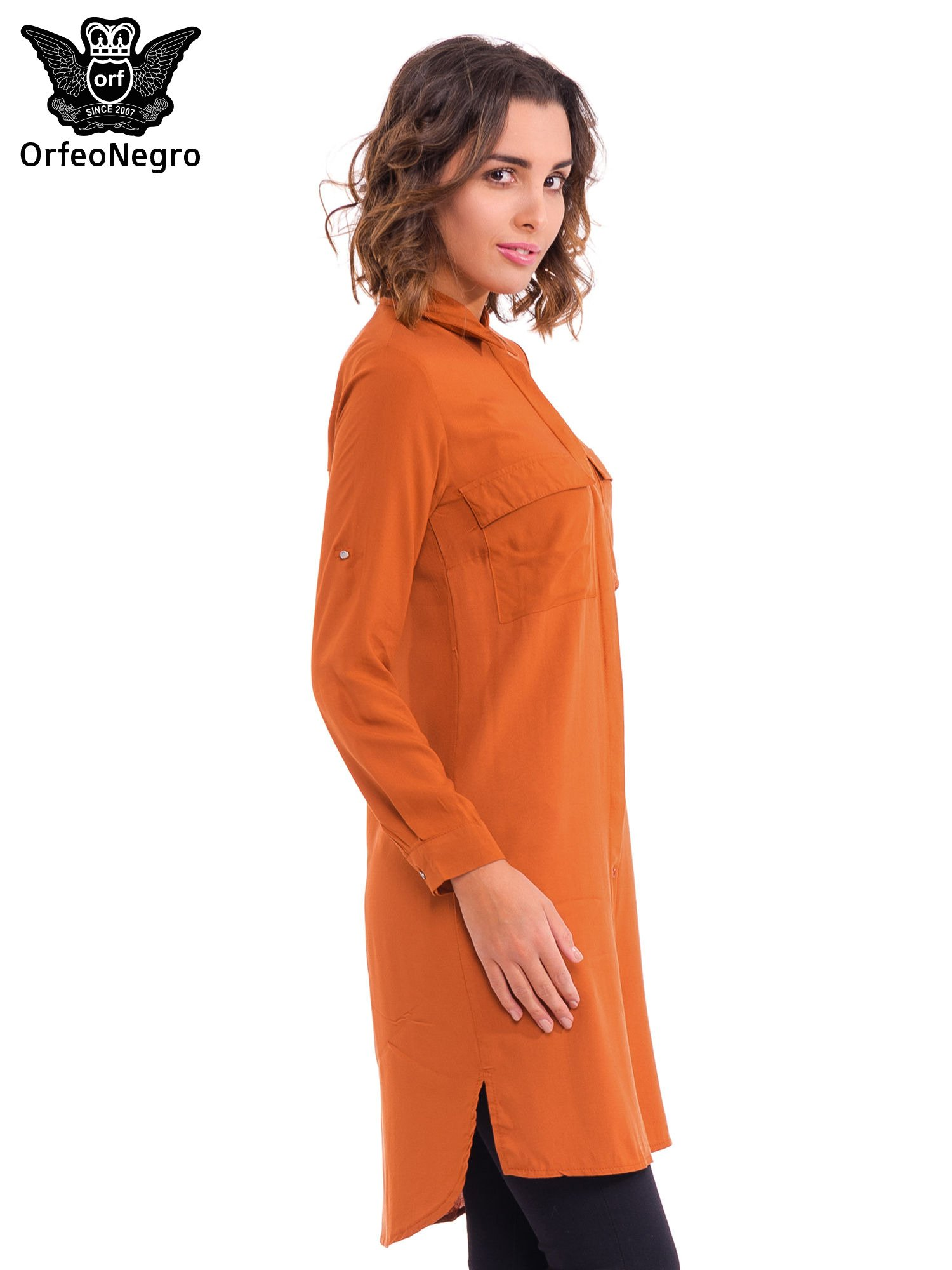 Pomarańczowa koszulotunika z kieszonkami                                  zdj.                                  3