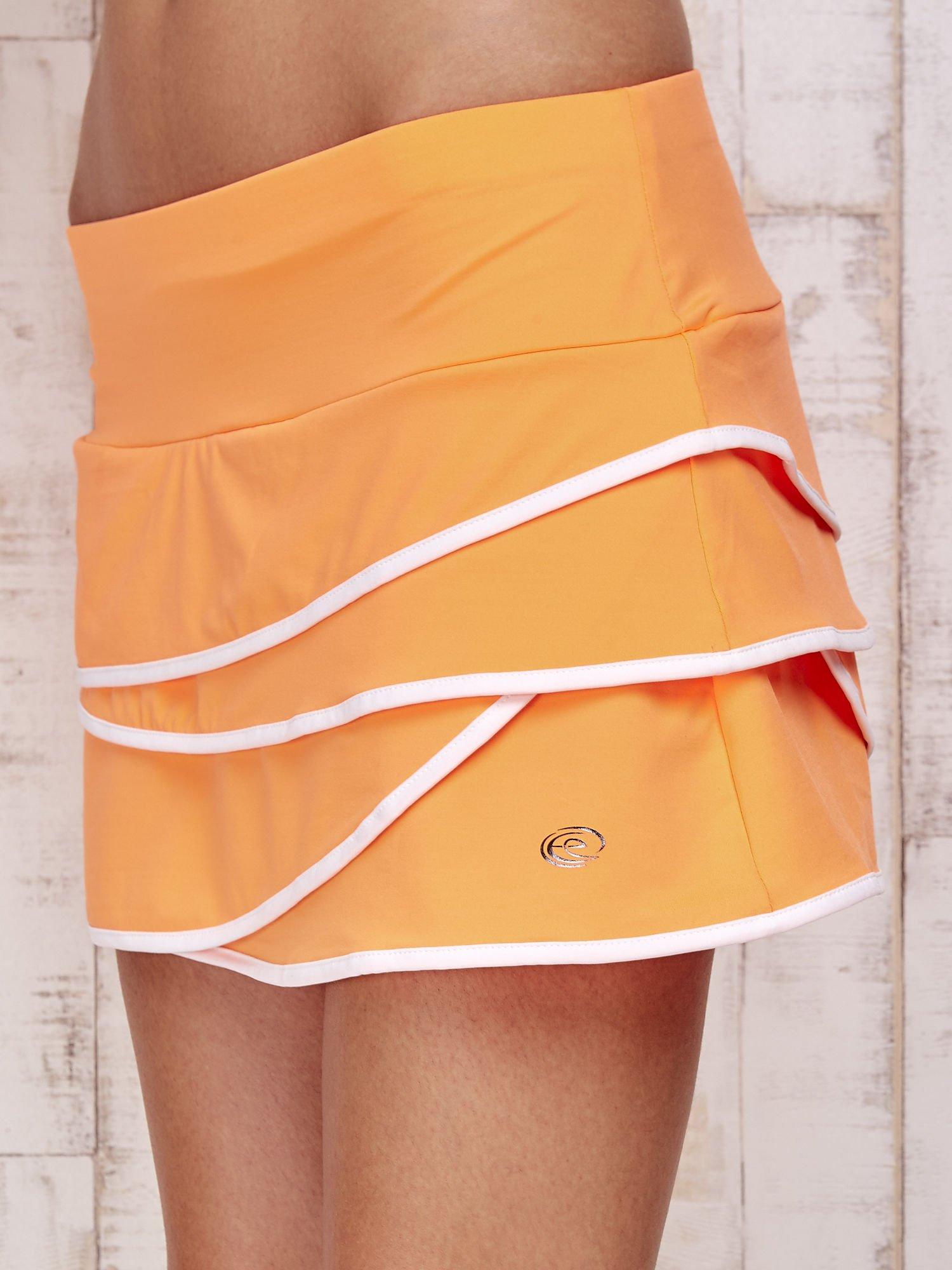 Pomarańczowe spodenki spódniczka tenisowa z falbankami                                  zdj.                                  7