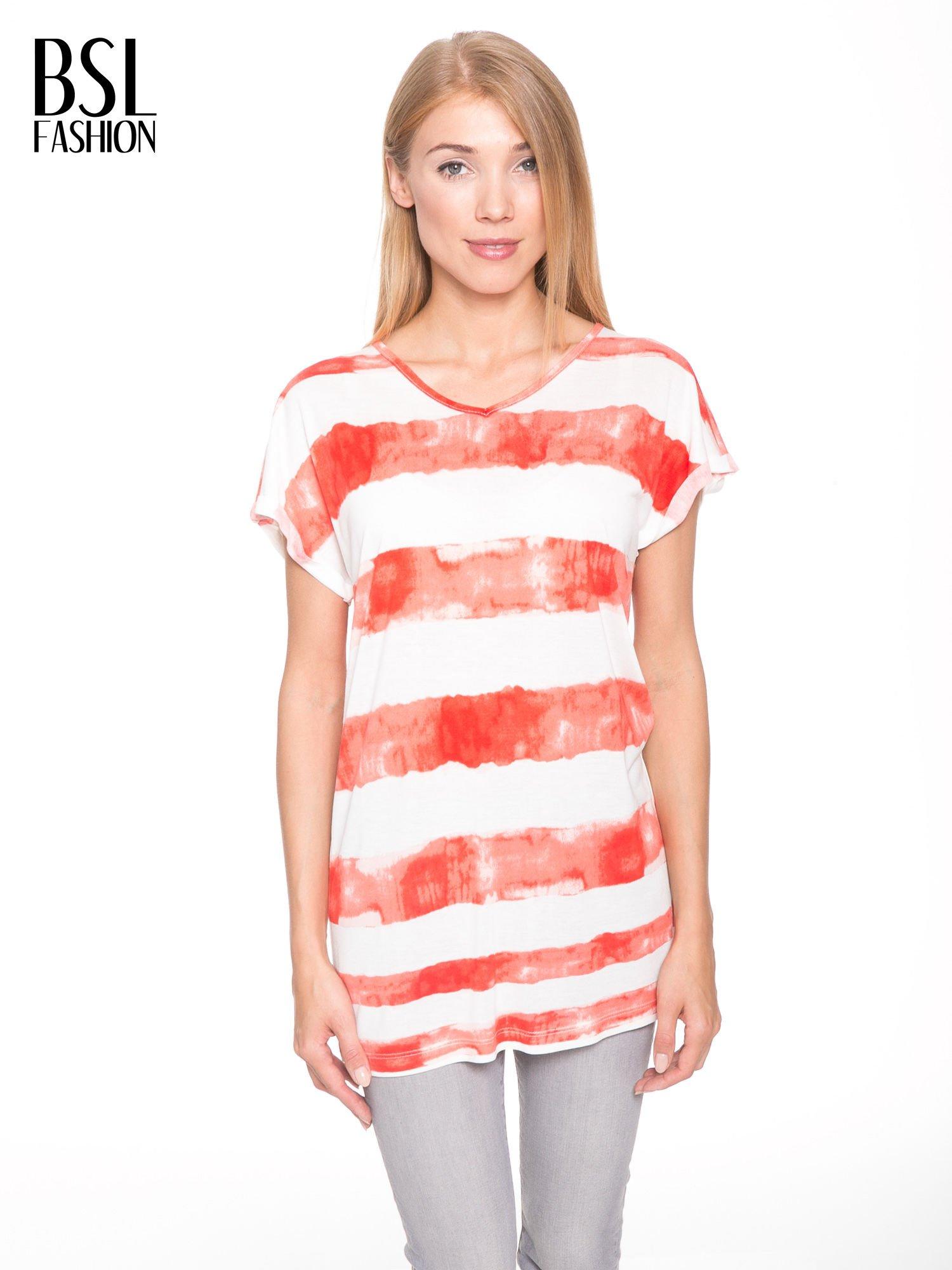 Pomarańczowy t-shirt w paski tie-dye                                  zdj.                                  1