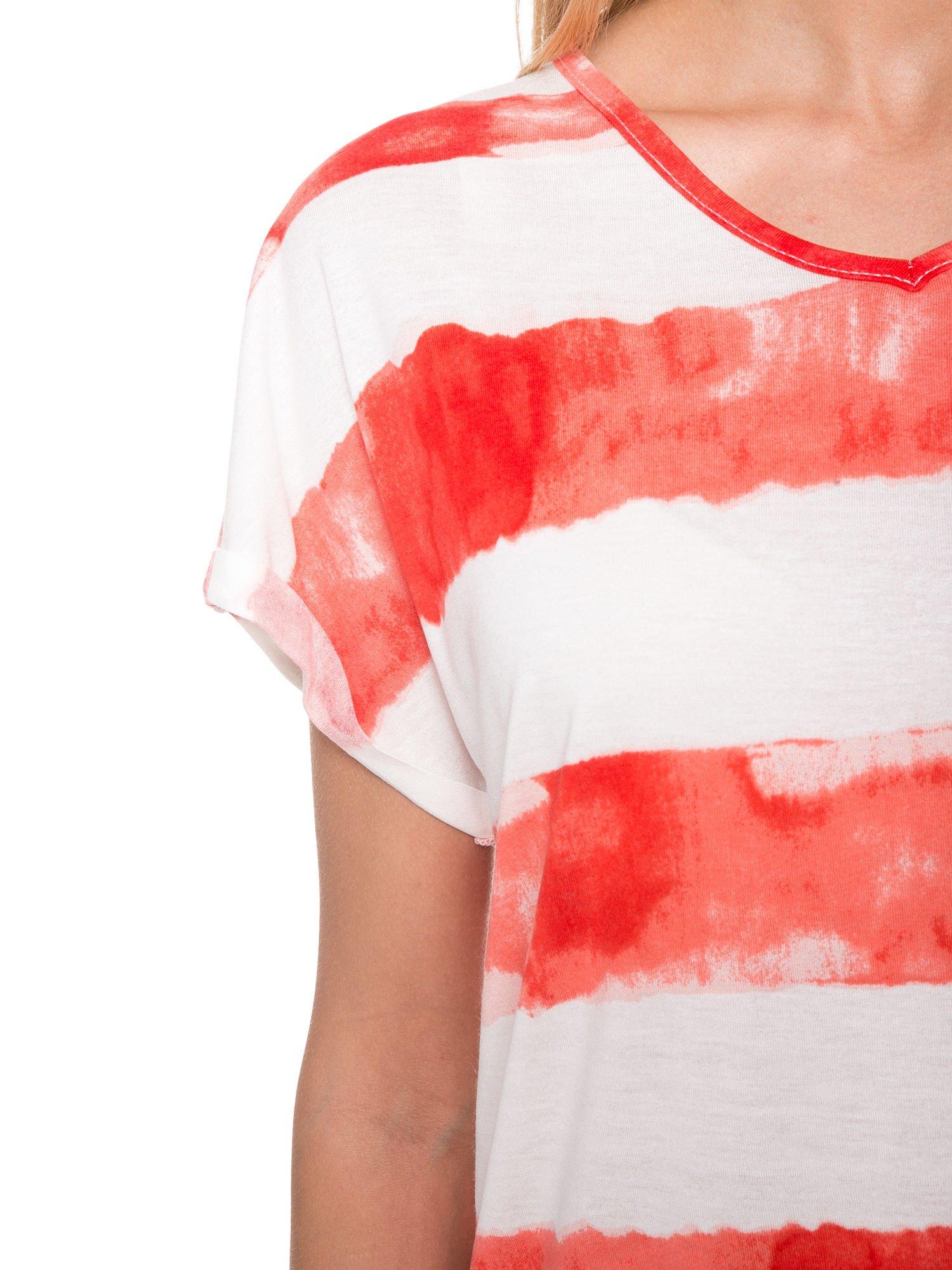 Pomarańczowy t-shirt w paski tie-dye                                  zdj.                                  6