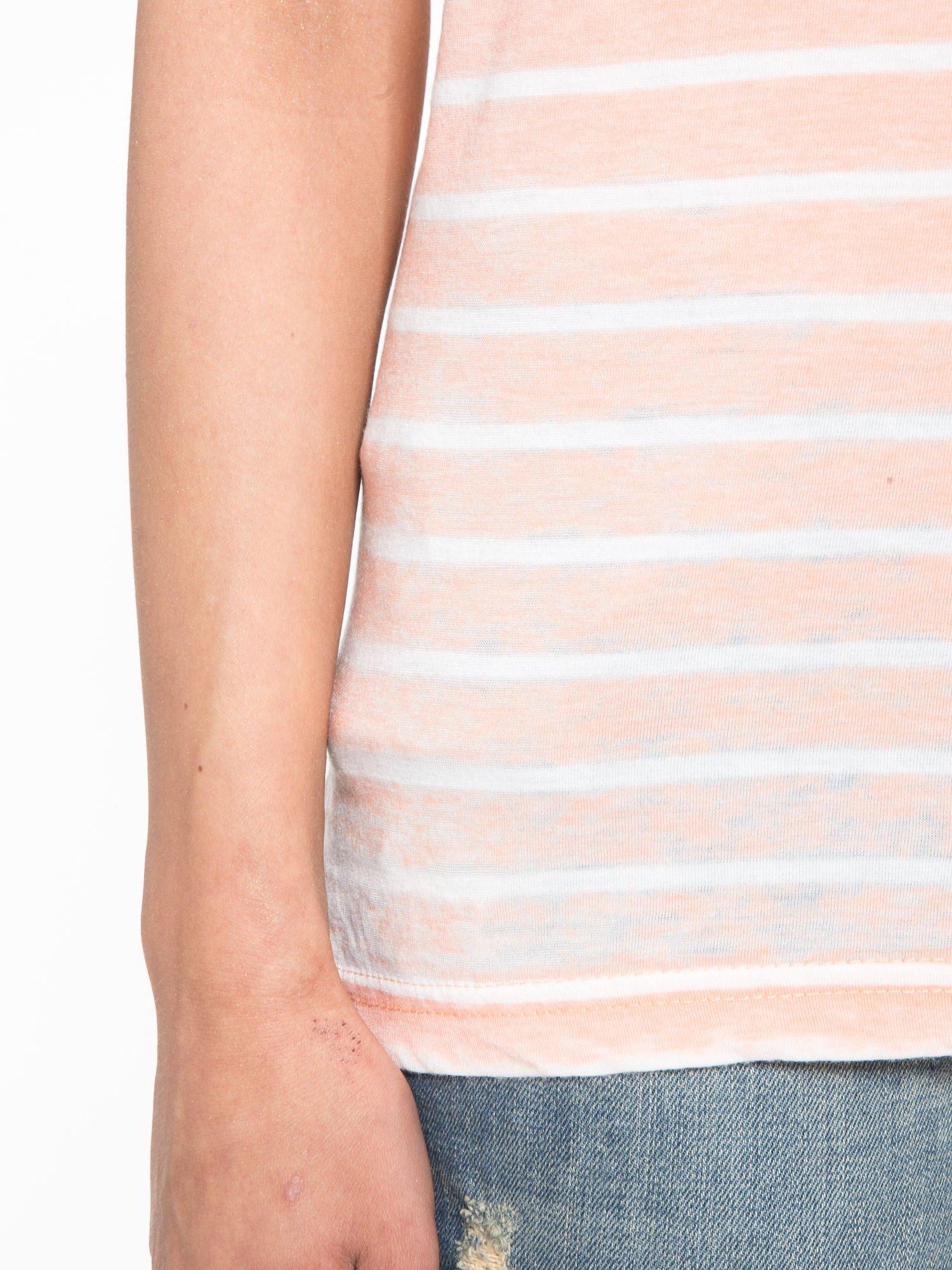 Pomarańczowy t-shirt w paski z napisem FIRENZE TOSCANA                                  zdj.                                  7