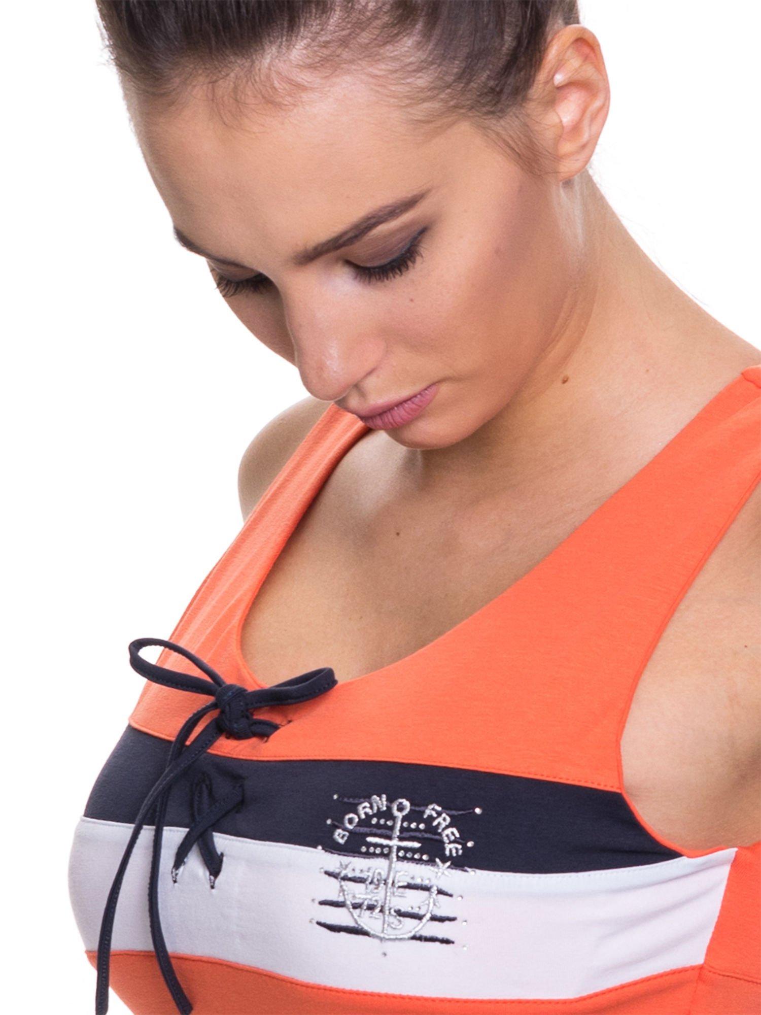 Pomarańczowy top sportowy z wiązaniem w stylu marynarskim                                  zdj.                                  4