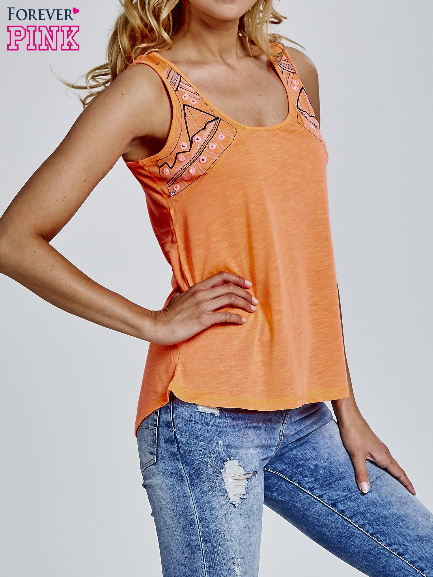 Pomarańczowy top z motywem azteckim na ramiączkach                                  zdj.                                  3