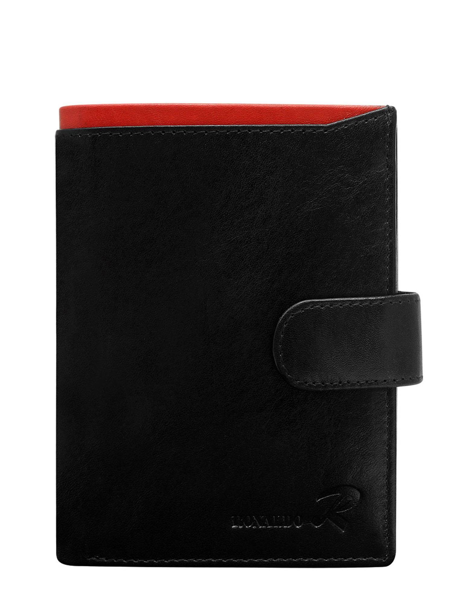 c9447549112e2 Portfel męski skórzany pionowy czarny z czerwoną wstawką - Mężczyźni  portfel męski - sklep eButik.pl