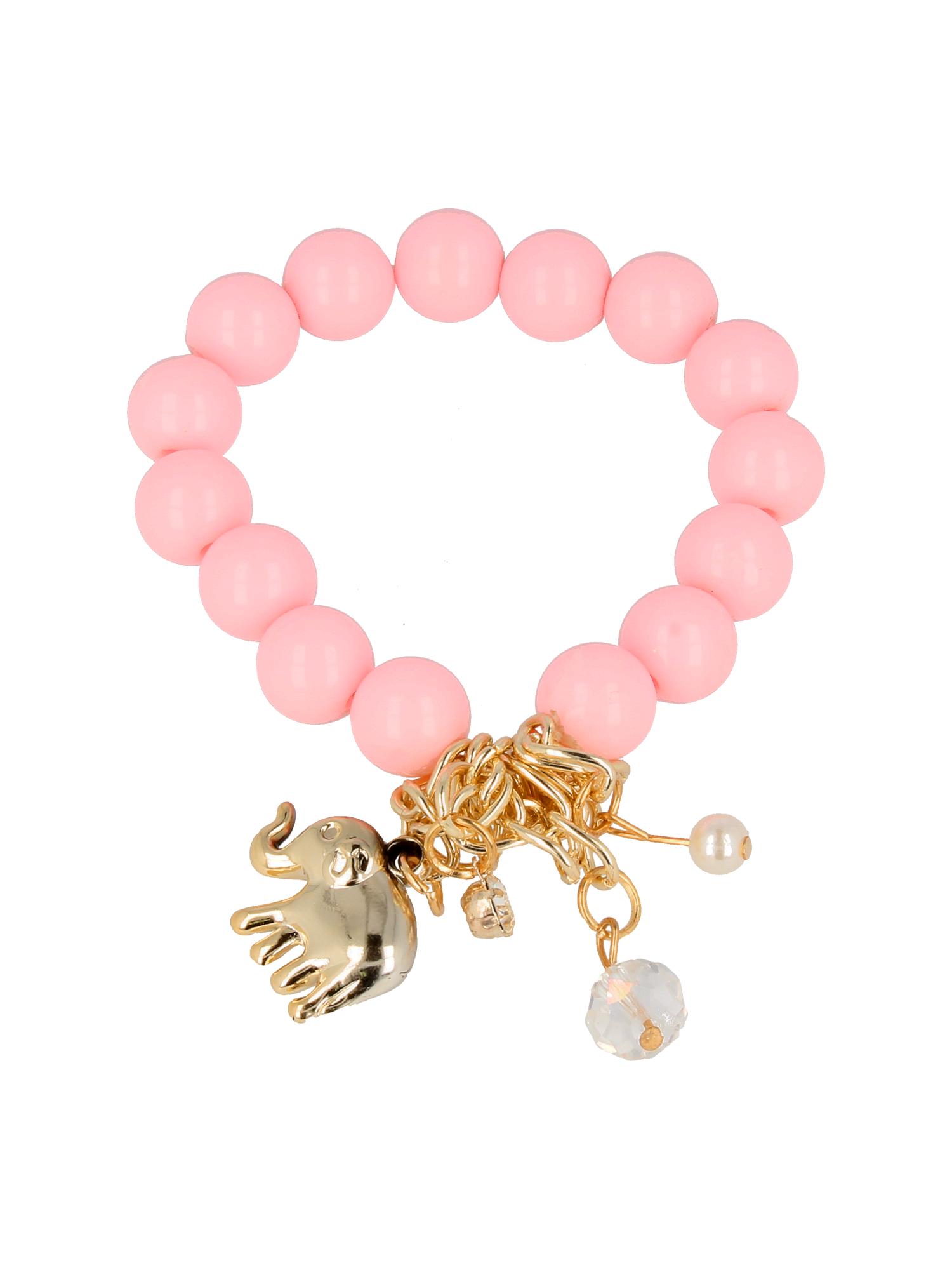 Różowa Bransoletka koralikowa z bogatą zawieszką                                  zdj.                                  2