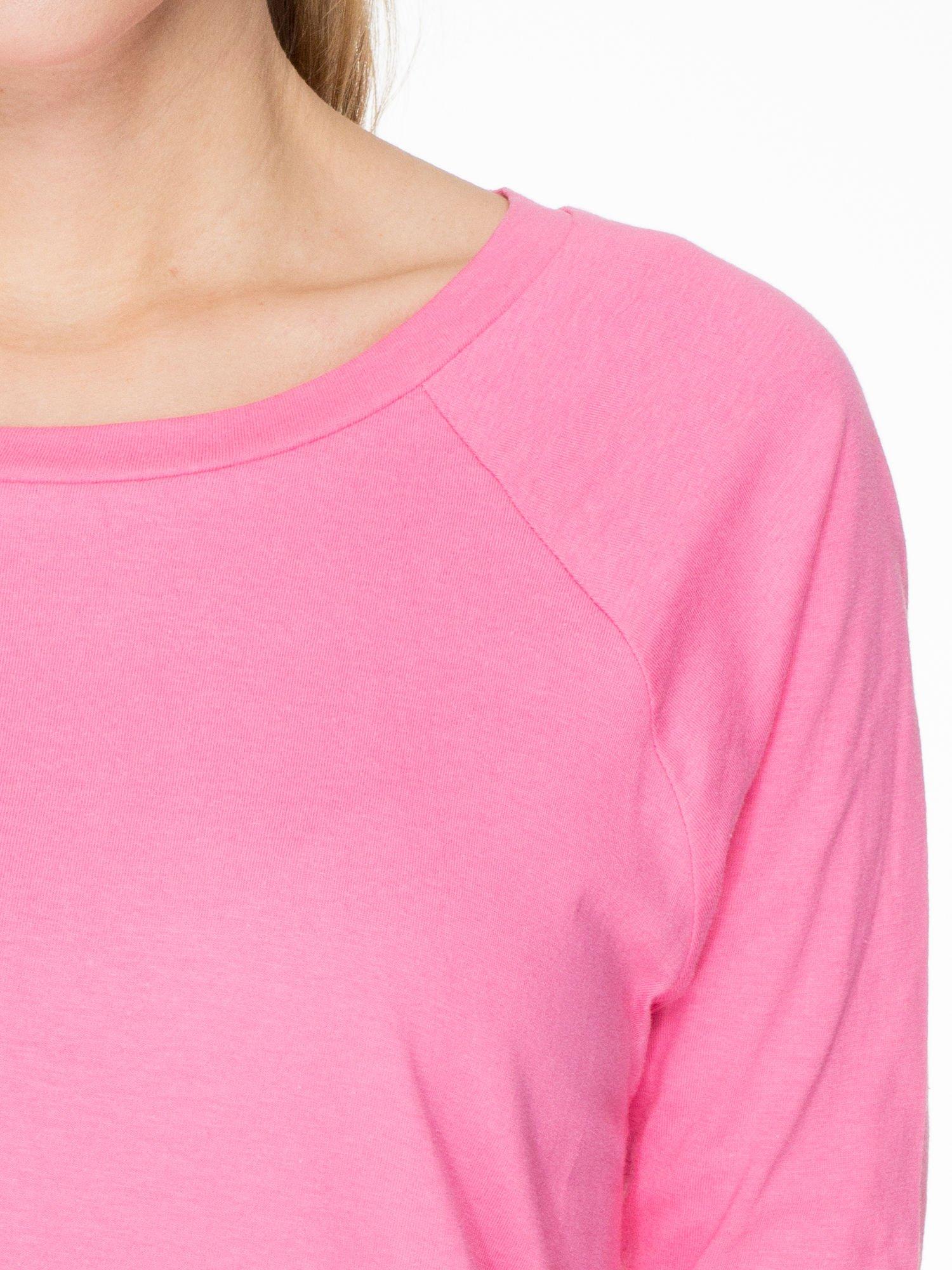 Różowa bawełniana bluzka z rękawami typu reglan                                  zdj.                                  5