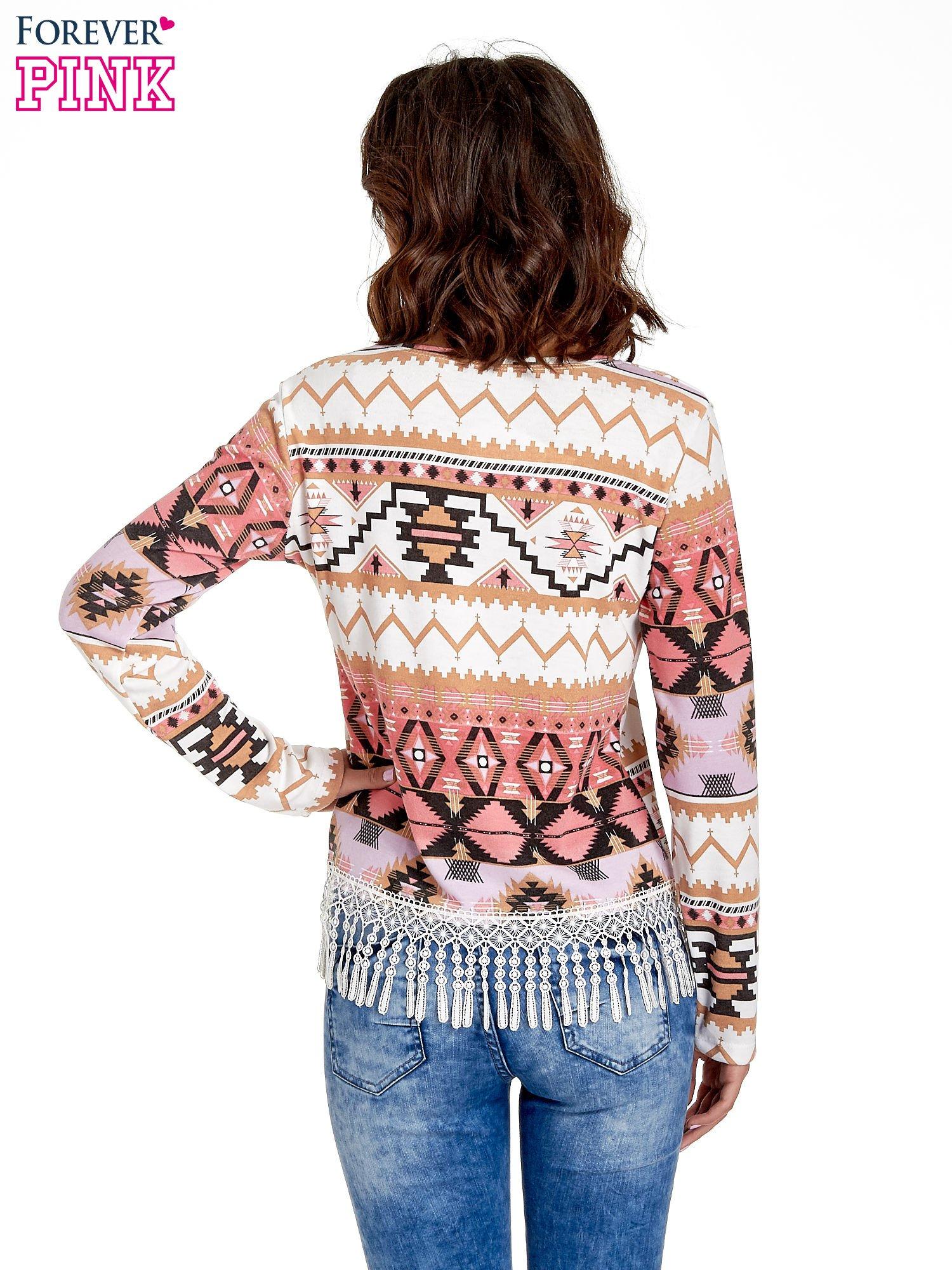 Różowa bluza w azteckie wzory z koronką z frędzlami                                  zdj.                                  4