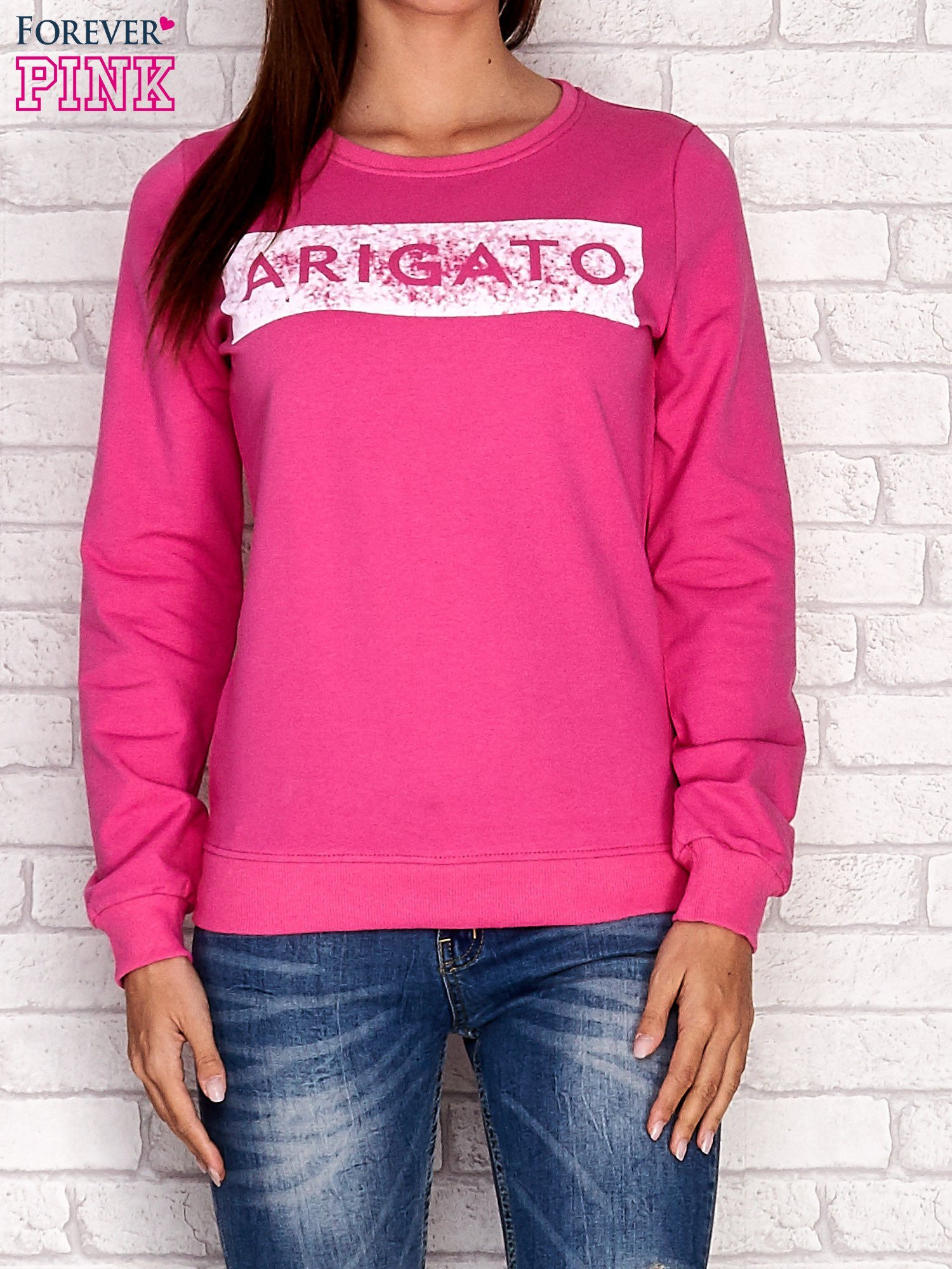 Różowa bluza z napisem ARIGATO                                  zdj.                                  1
