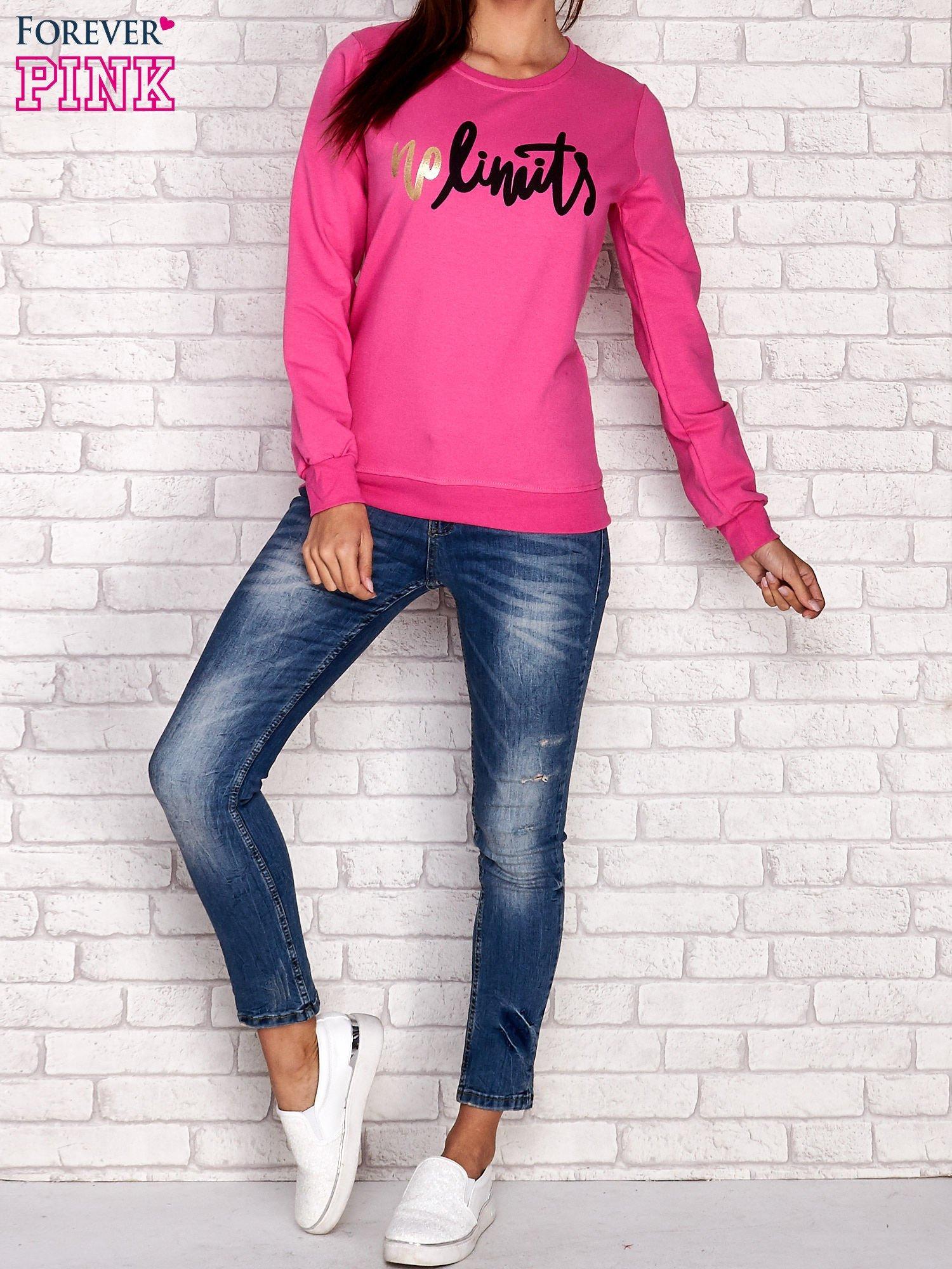 Różowa bluza z napisem NO LIMITS                                  zdj.                                  2