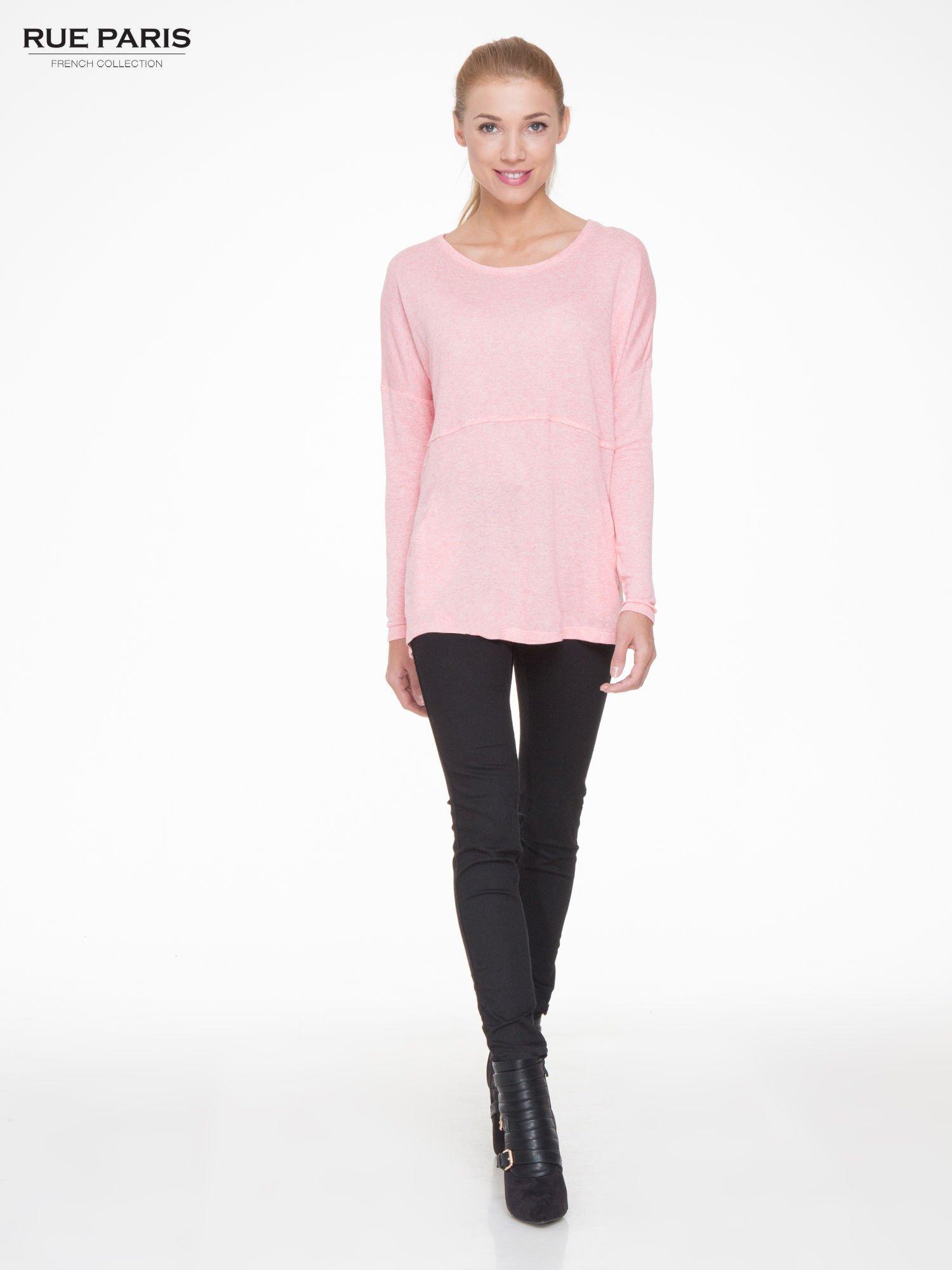 Różowa dresowa bluza oversize z kieszeniami                                  zdj.                                  2