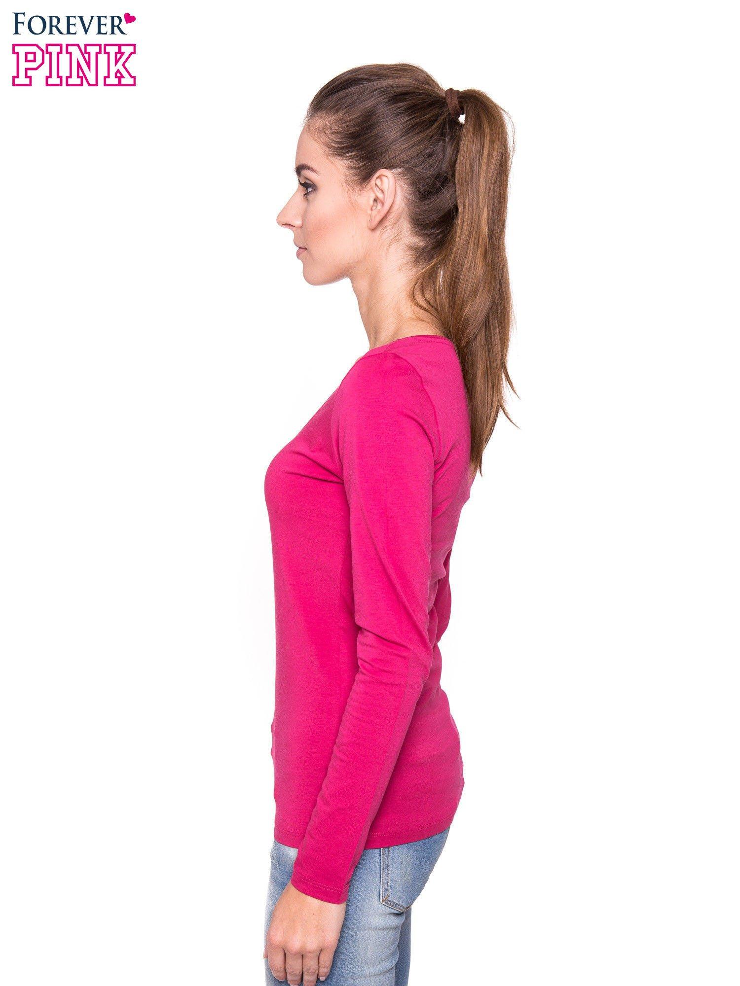 Różowa gładka bluzka z długim rękawem                                  zdj.                                  2