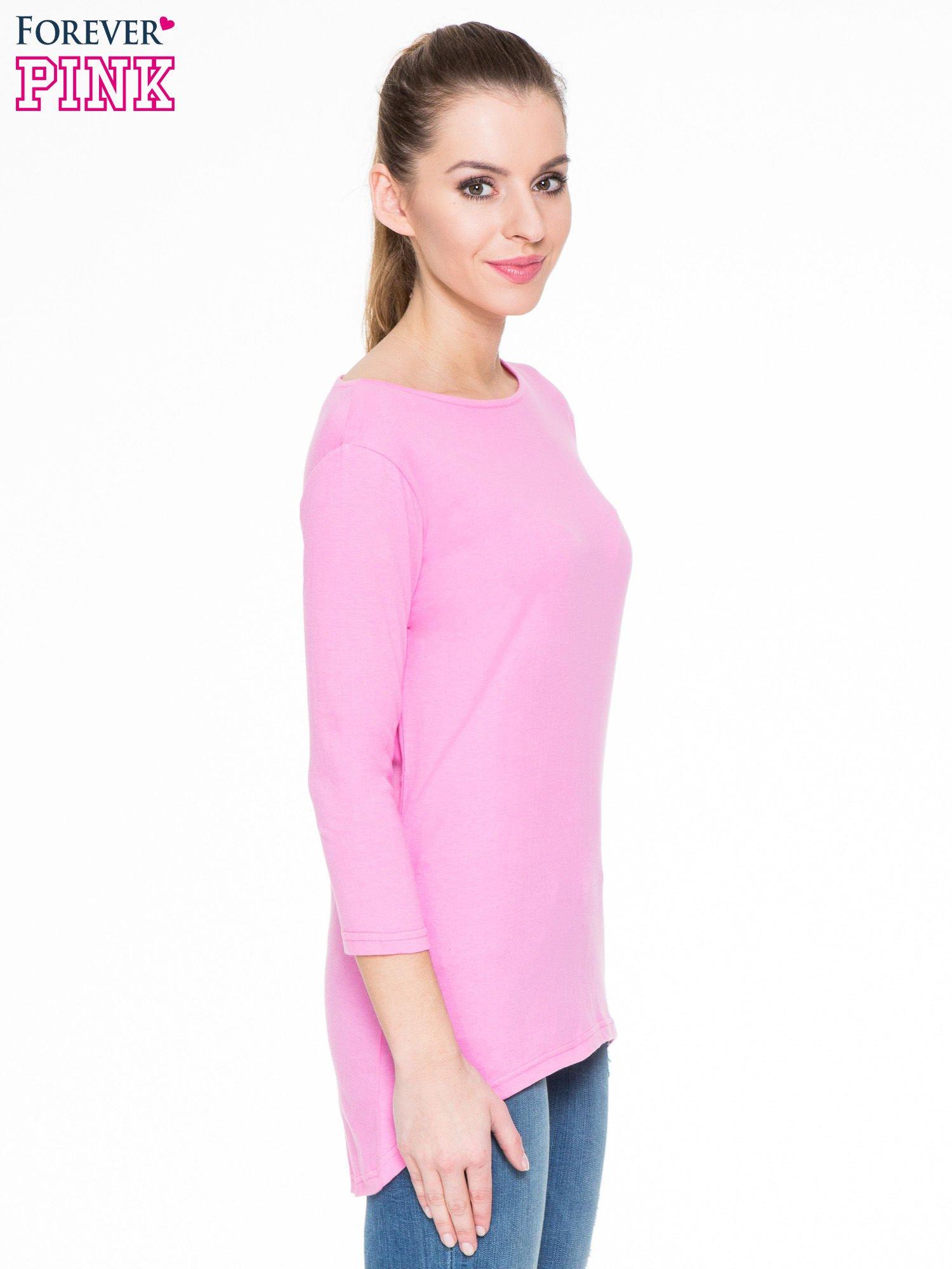 Różowa gładka bluzka z dłuższym tyłem                                  zdj.                                  3