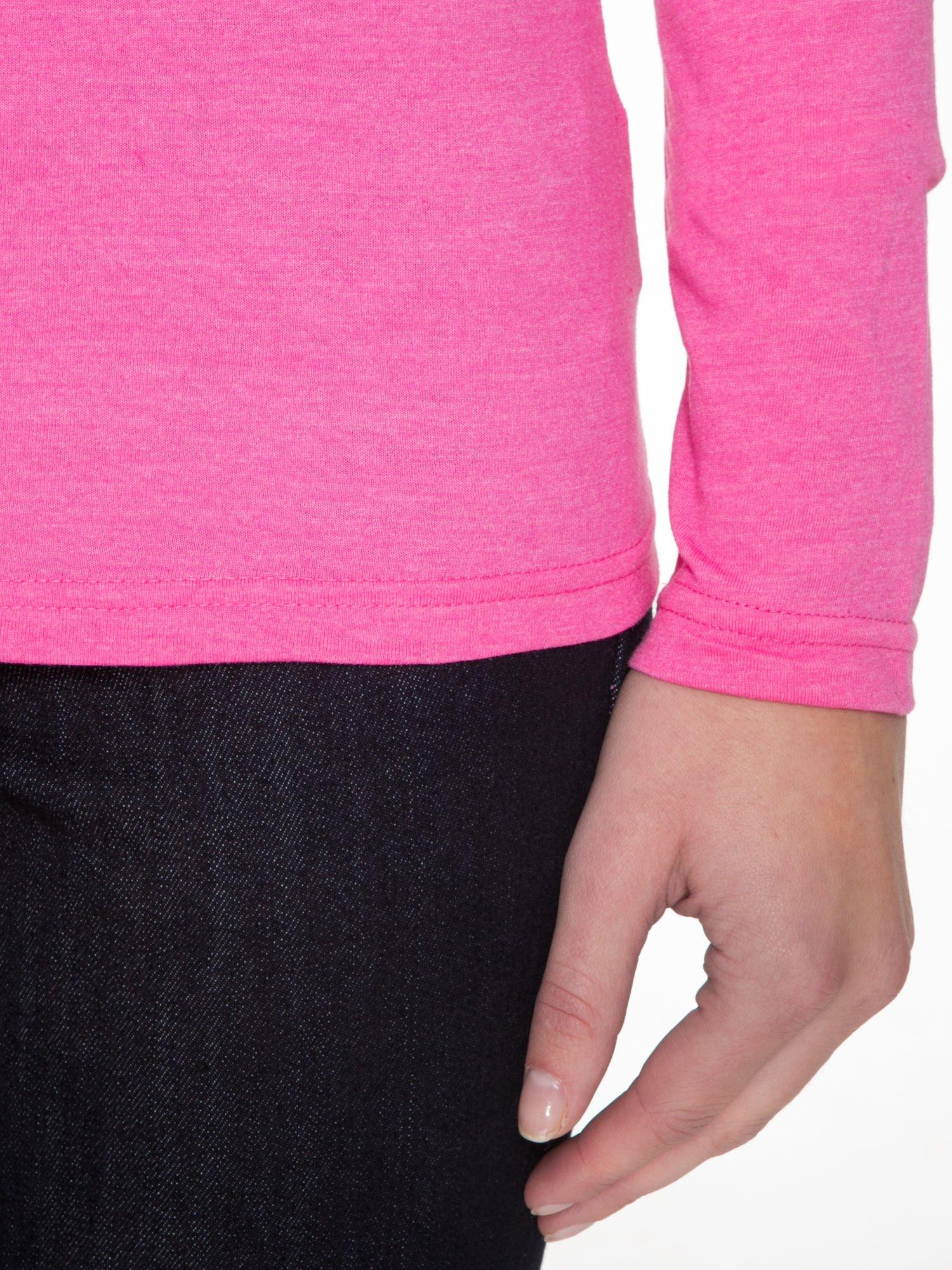 Różowa gładka bluzka z reglanowymi rękawami                                  zdj.                                  6