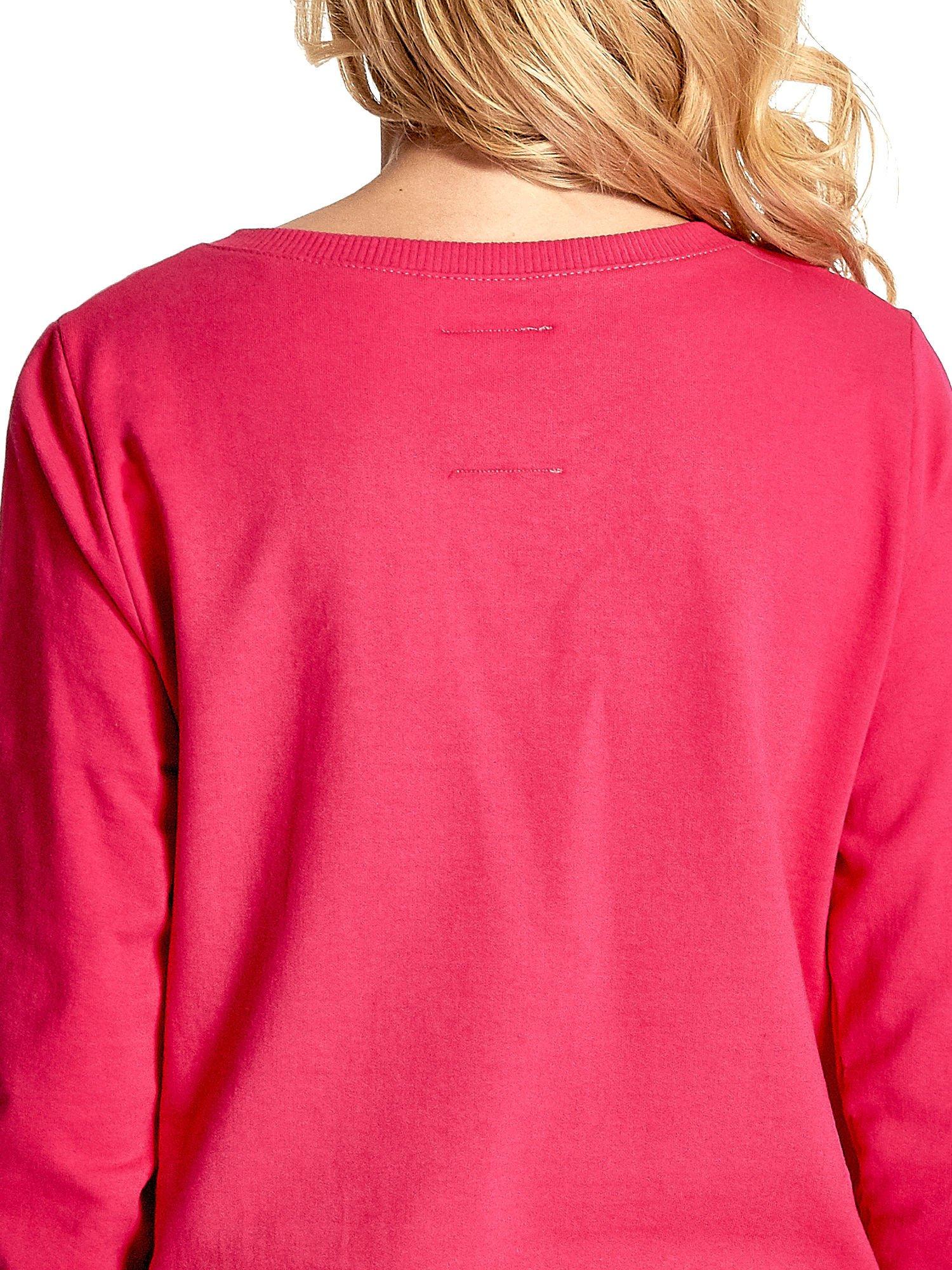 Rózowa klasyczna bluza damska z napisem AVENUE MONTAIGNE                                  zdj.                                  7
