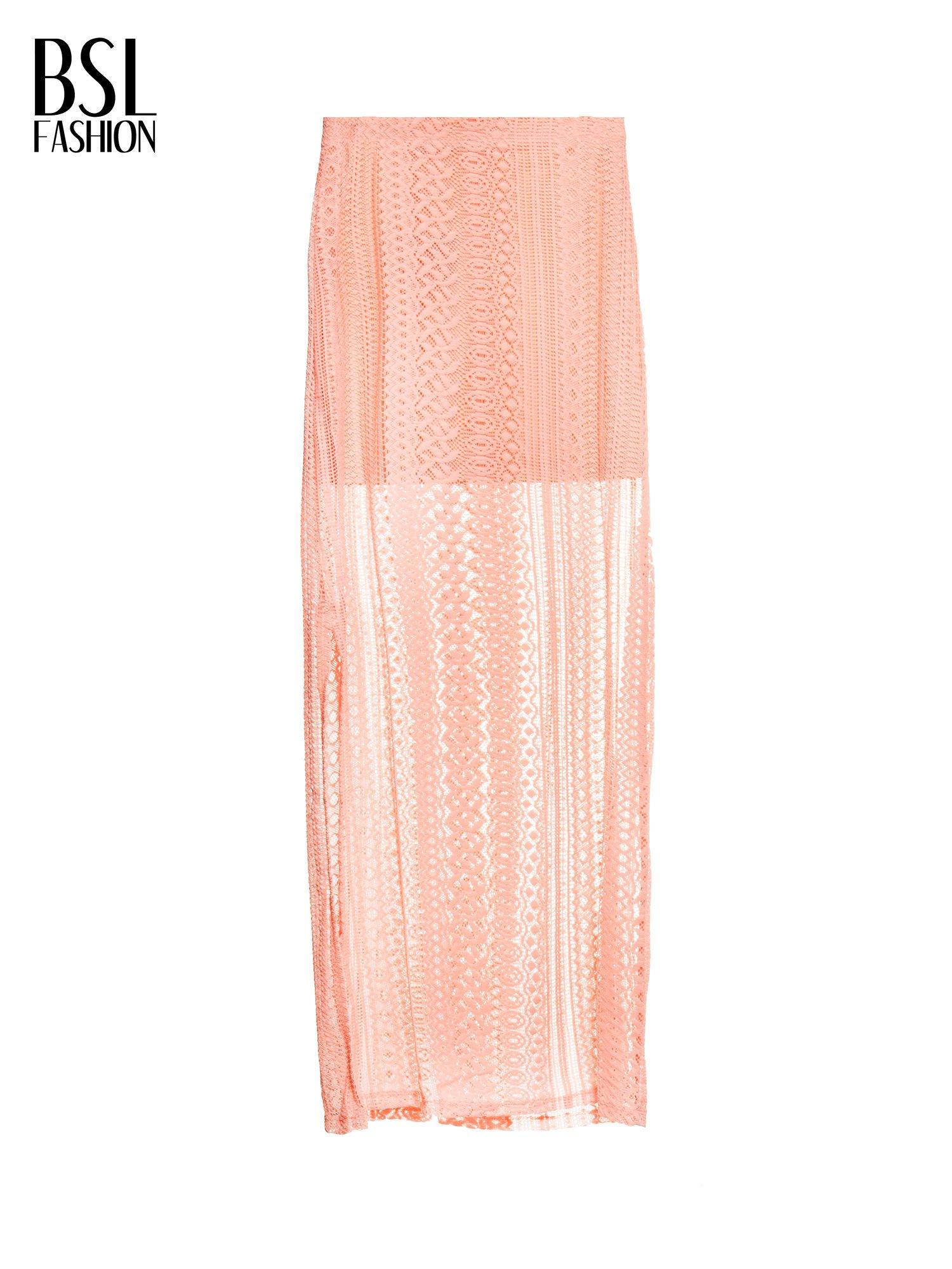 Różowa koronkowa spódnica maxi z rozporkiem                                  zdj.                                  2