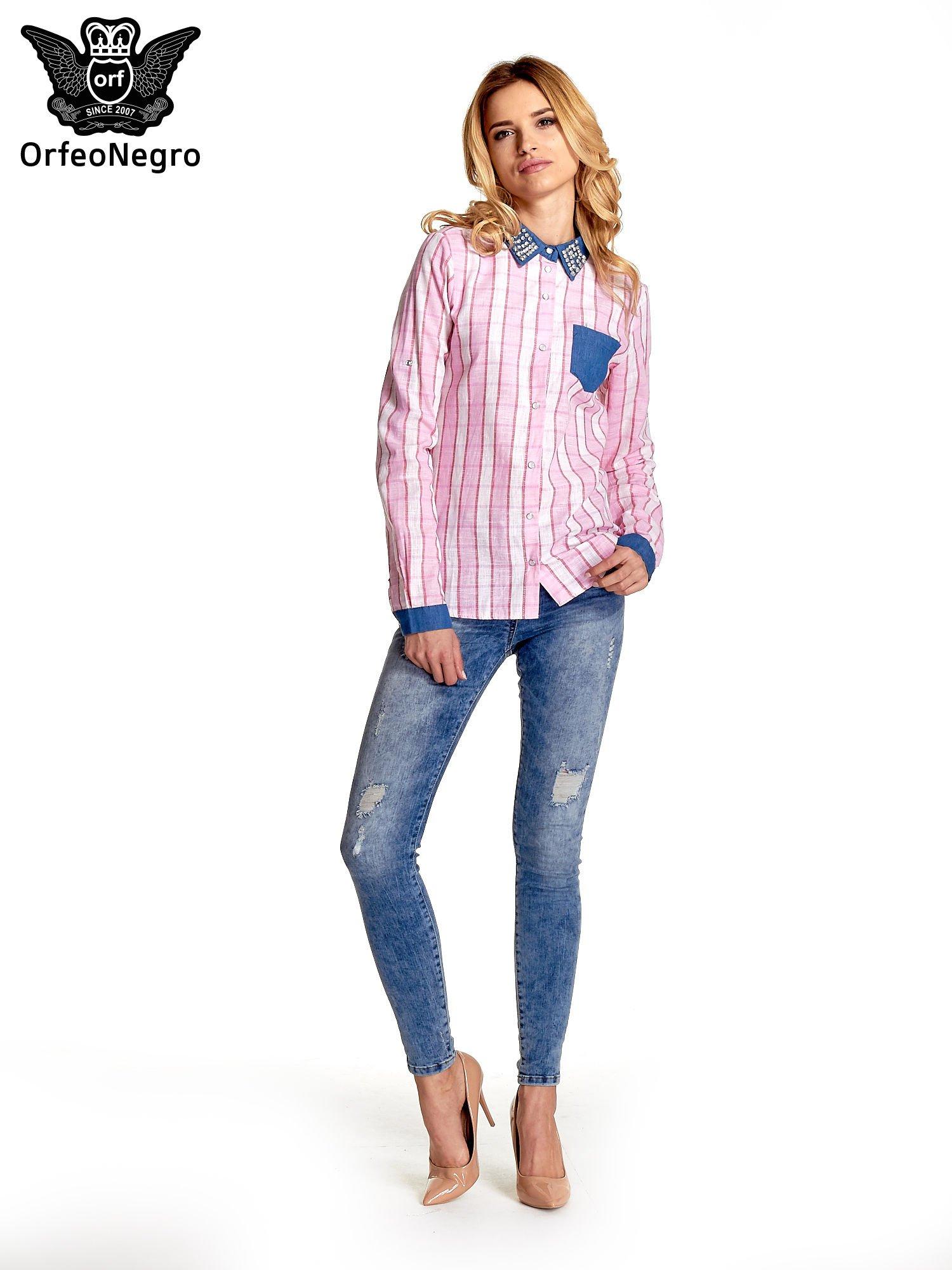 Różowa koszula w kratę z kołnierzykiem, mankietami i kieszonką z ciemnego denimu                                  zdj.                                  9