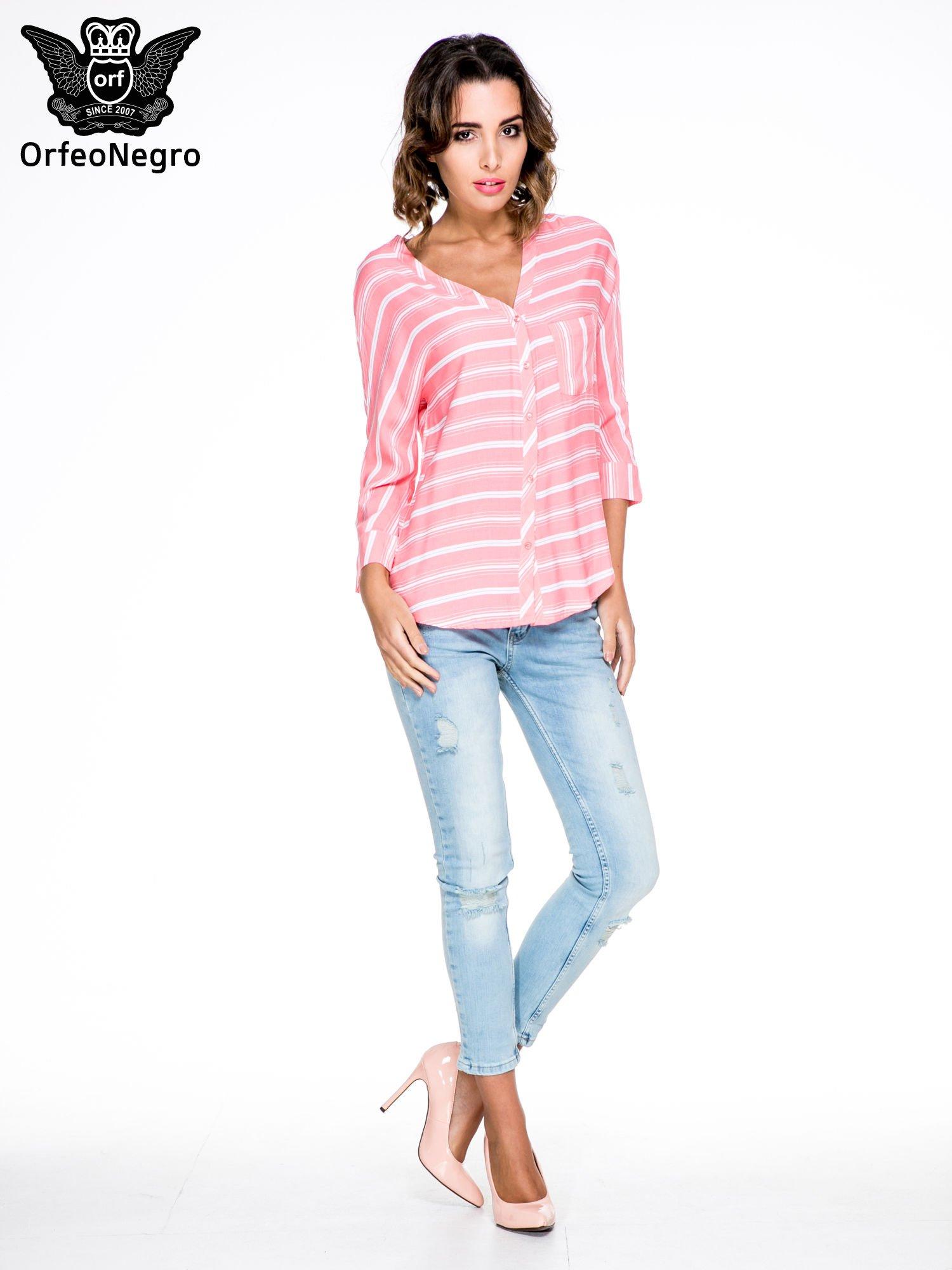 Różowa koszula w paski z rękawem 3/4                                  zdj.                                  2