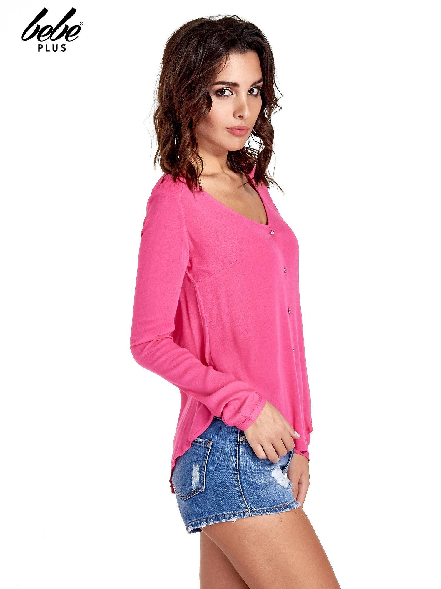 Różowa koszula z kontrafałdą z tyłu                                  zdj.                                  3