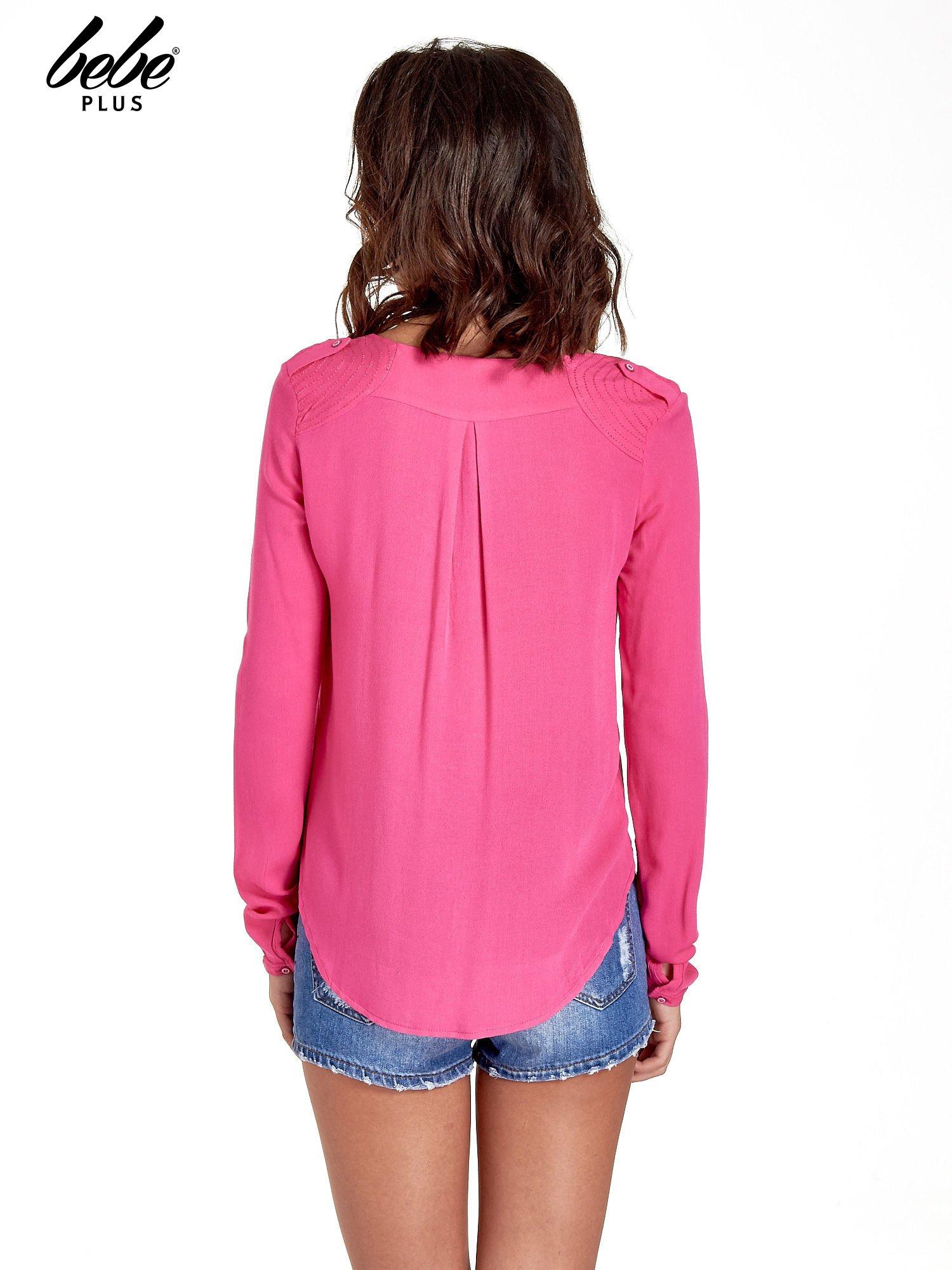 Różowa koszula z kontrafałdą z tyłu                                  zdj.                                  4
