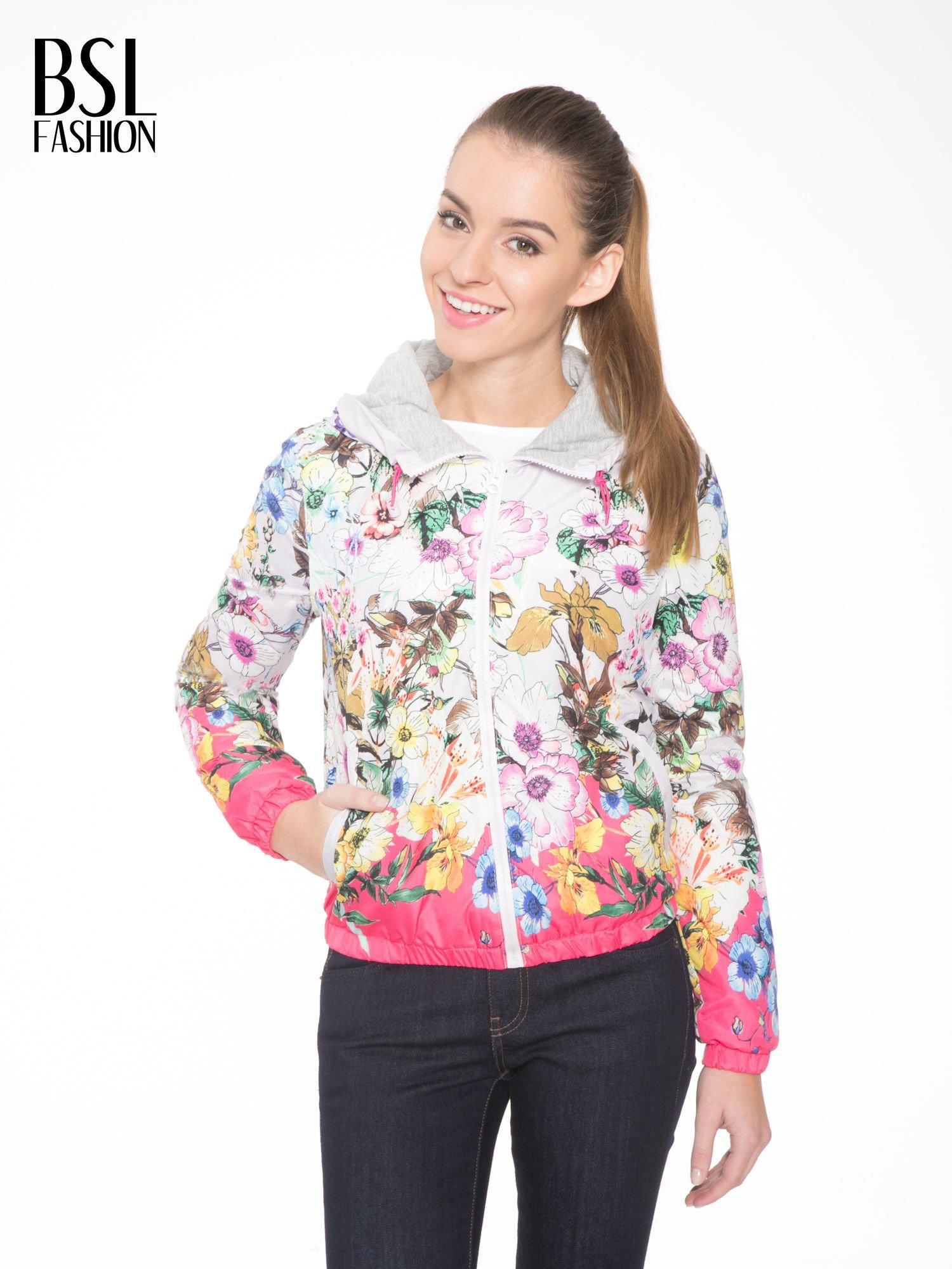 Różowa kwiatowa kurtka bomber jacket z kapturem                                  zdj.                                  1
