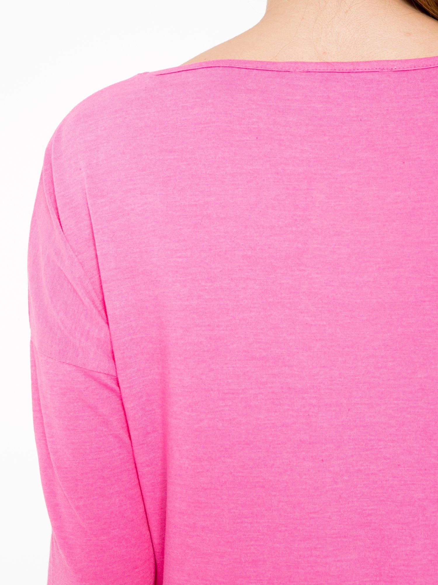 Różowa luźna bluzka z rękawem 3/4                                  zdj.                                  8