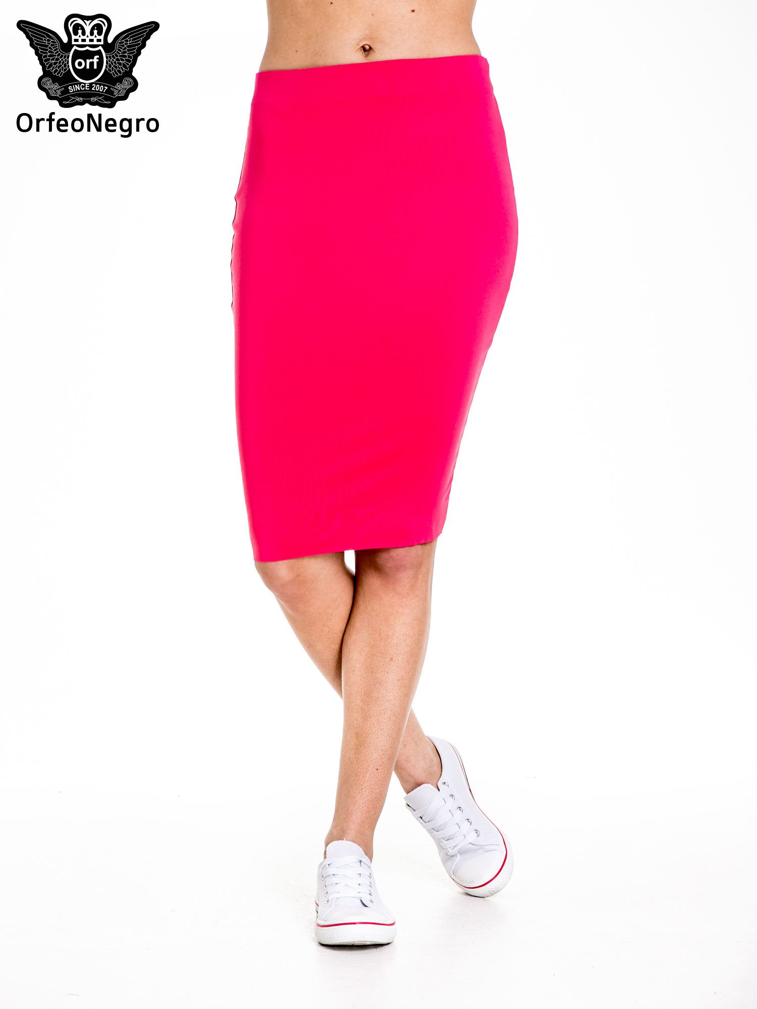 Różowa spódnica tuba za kolano                                  zdj.                                  1
